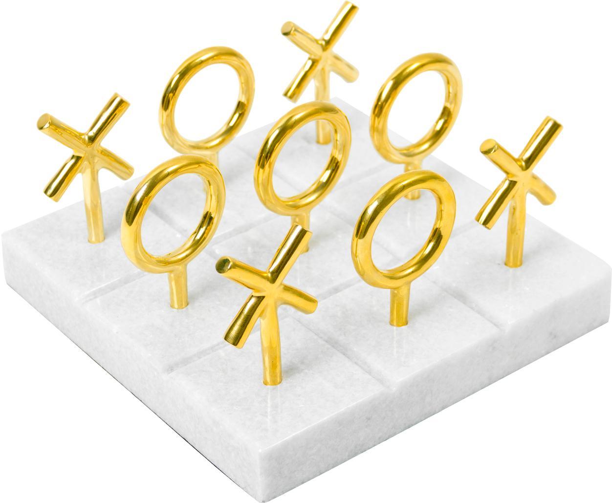 Juego de mesa de mármol Tic Tac Toe, Tablero: mármol, Piezas: latón Tablero: blanco, An 17 x Al 10 cm