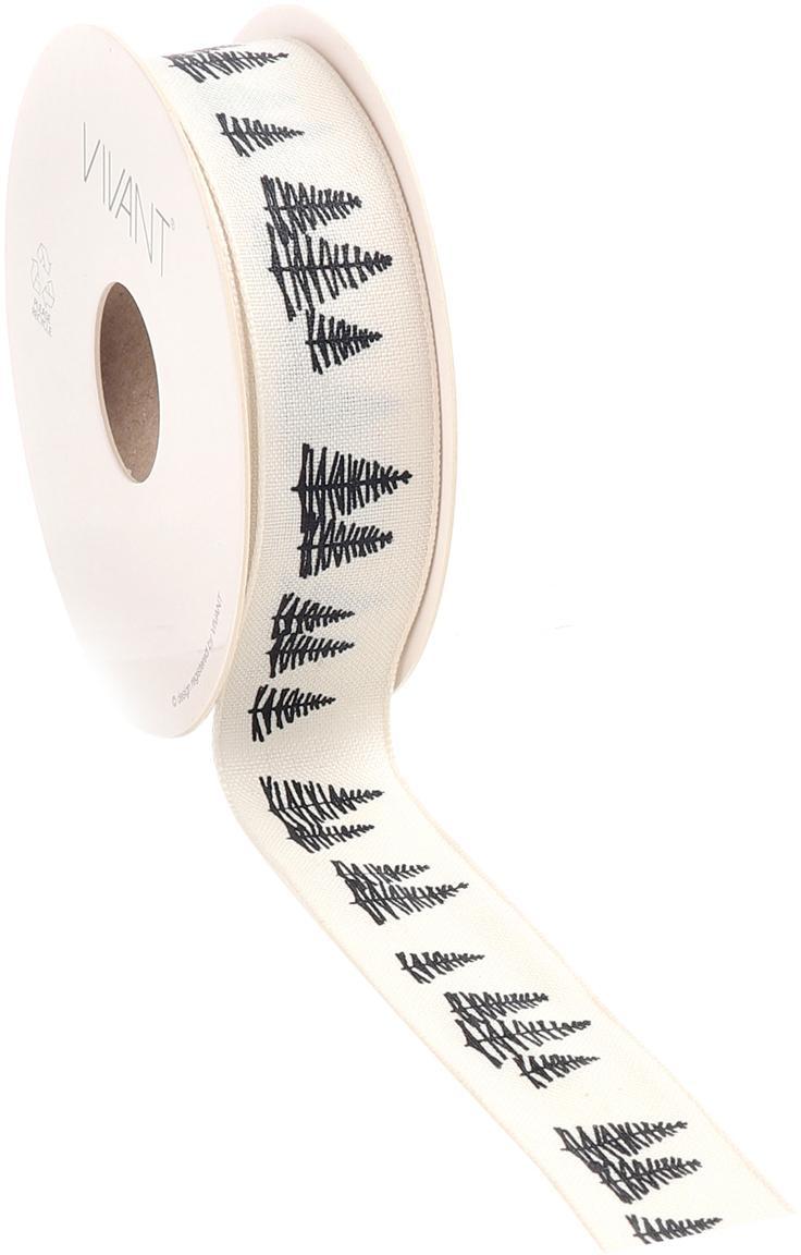 Geschenkband Fir, Polyester, Weiß, Schwarz, 3 x 1500 cm