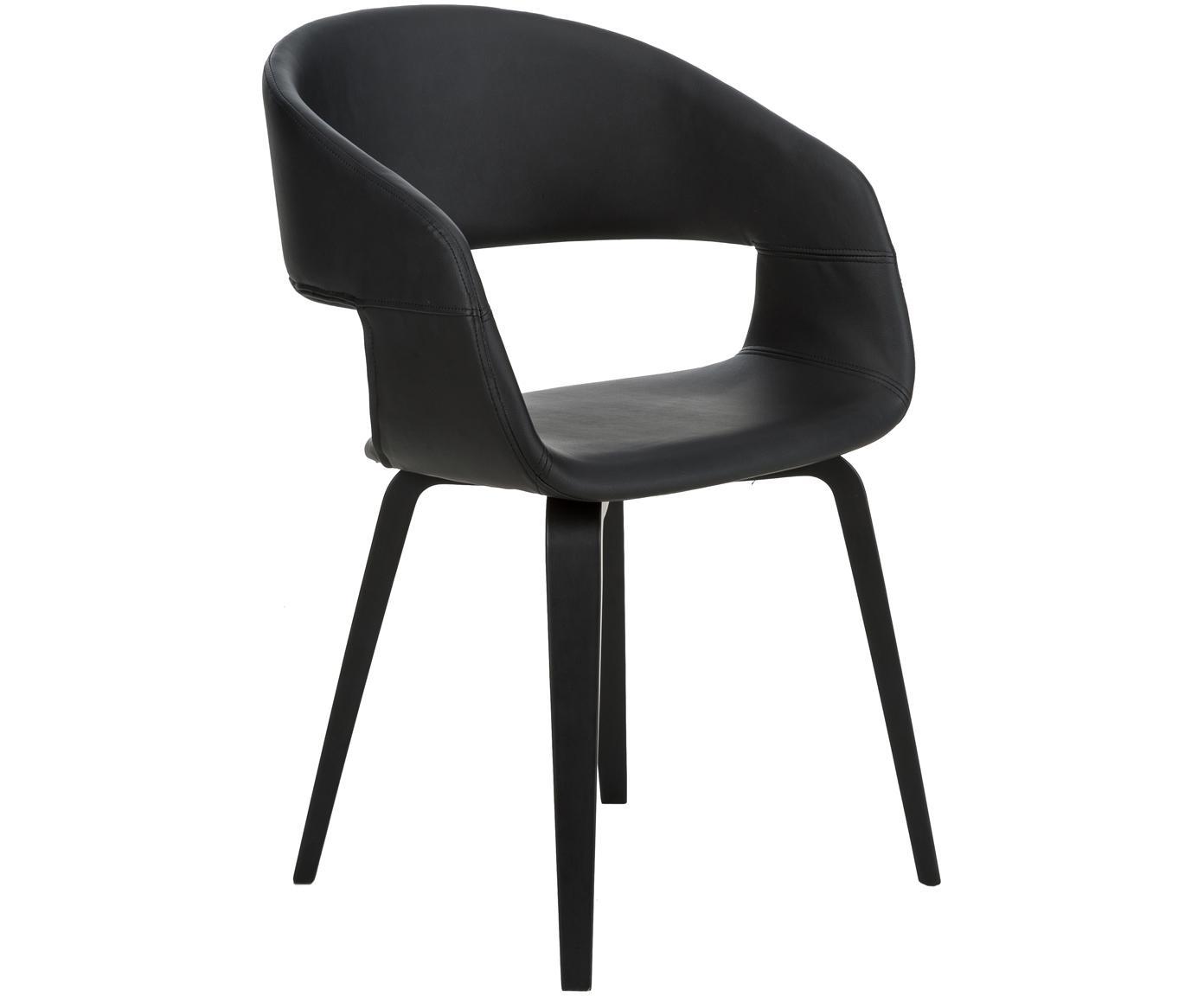 Krzesło z podłokietnikami ze sztucznej skóry  Nova, 2 szt., Nogi: drewno dębowe, lakierowan, Tapicerka: sztuczna skóra (poliureta, Czarny, S 50 x W 77 cm