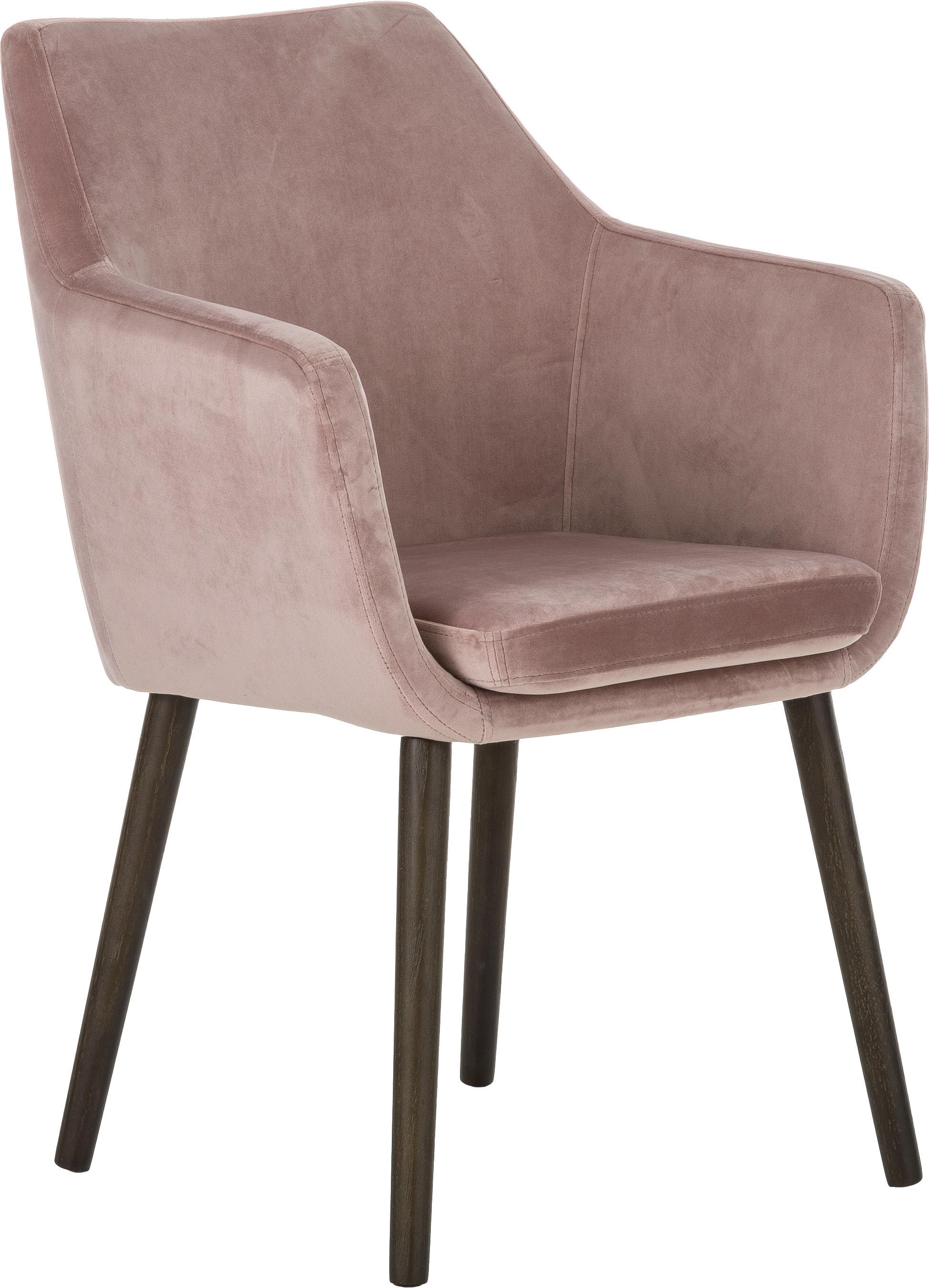 Krzesło z podłokietnikami z aksamitu Nora, Tapicerka: poliester (aksamit), Nogi: drewno dębowe, bejcowane, Aksamitny blady różowy, nogi: ciemny brązowy, S 58 x W 84 cm