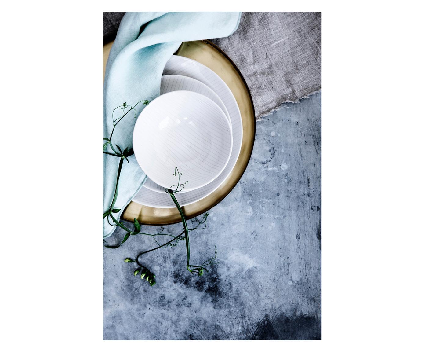 Boles artesanales Copenhagen, 4uds., Gres, Marfil con rayas finas en beige claro, Ø 17 x Al 6 cm