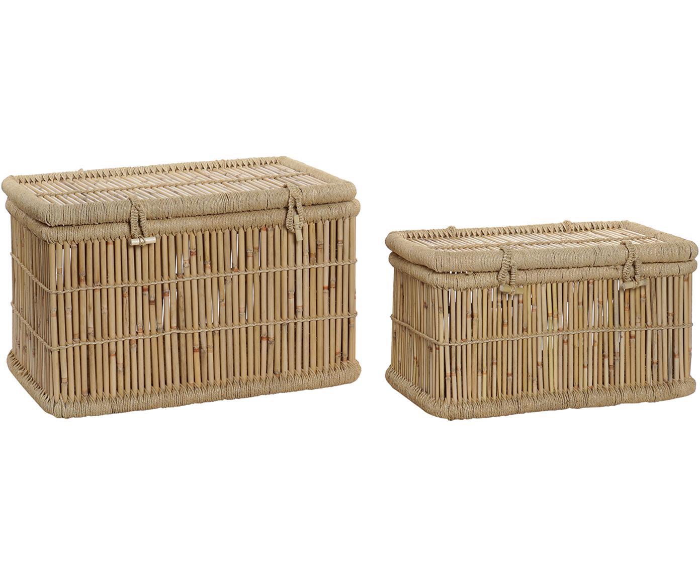 Set de cajas Nina, 2pzas., Caja: bambú, Beige, Tamaños diferentes