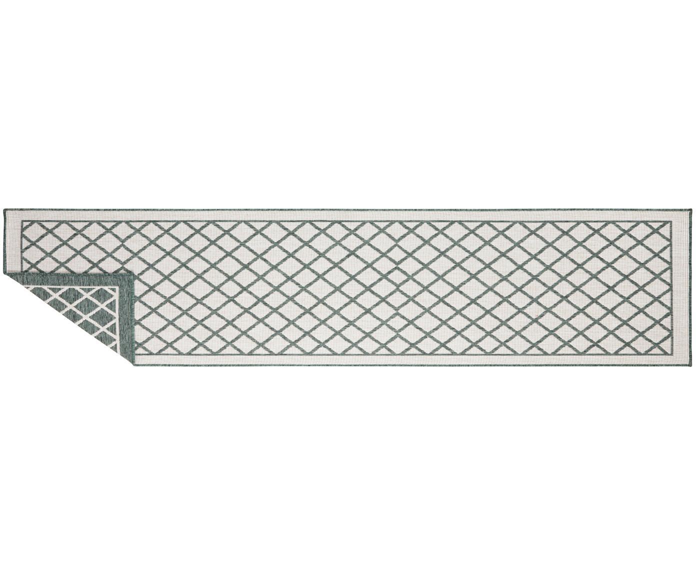 In- und Outdoor-Wendeläufer Sydney in Grün/Creme, Grün, Creme, 80 x 350 cm