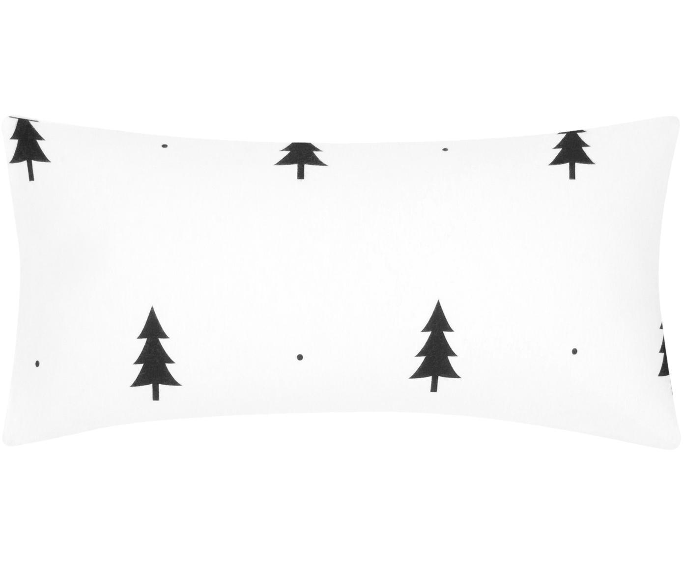 Flanell-Kissenbezüge X-mas Tree mit Tannenbäumen, 2 Stück, Webart: Flanell Flanell ist ein s, Weiß, Schwarz, 40 x 80 cm