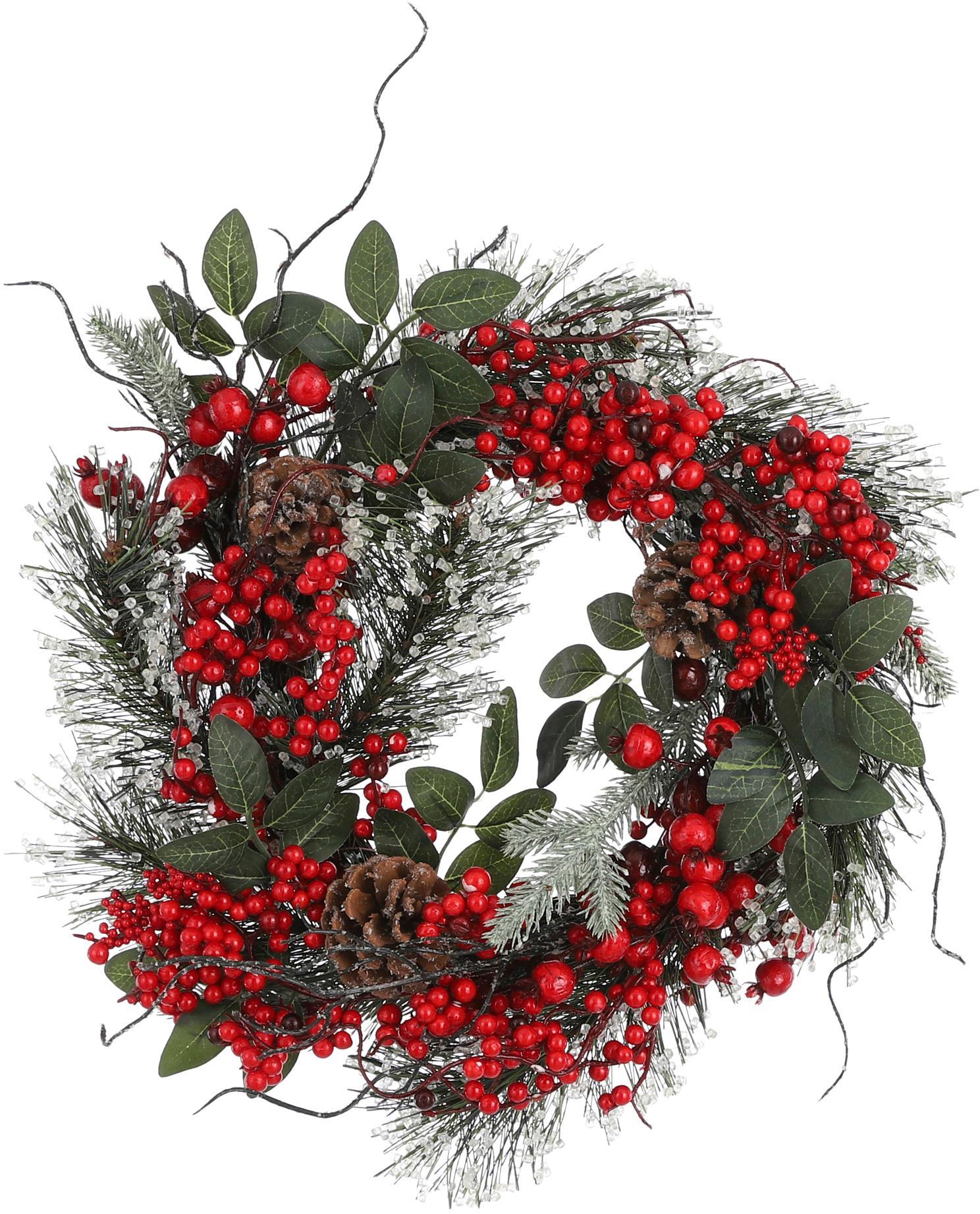 Künstlicher Weihnachtskranz Jerry, Kunststoff, Grün, Rot, Braun, Ø 40 cm