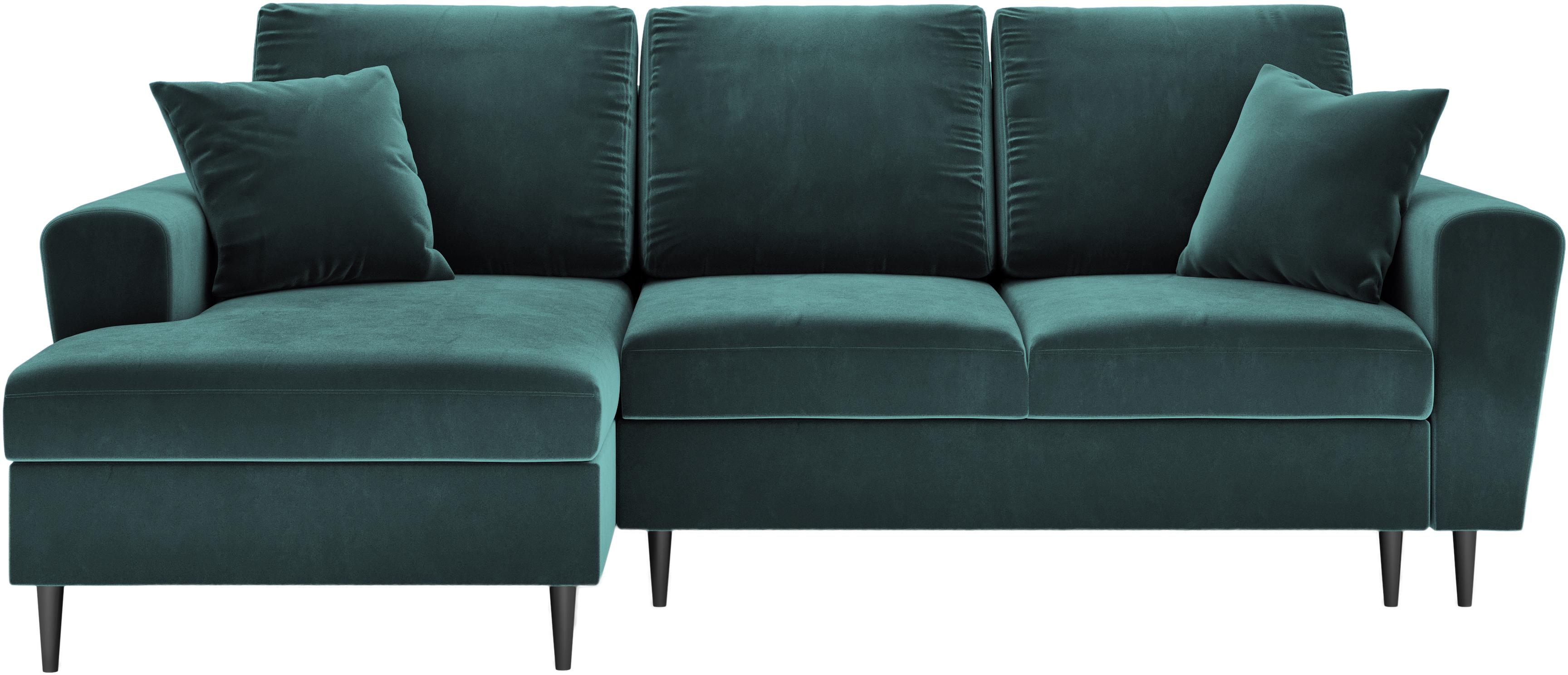 Sofa narożna z funkcją spania z miejscem do przechowywania Moghan (4-osobowa), Tapicerka: aksamit poliestrowy Dzięk, Stelaż: lite drewno sosnowe, skle, Nogi: metal lakierowany, Szarozielony, S 236 x G 145 cm  (lewostronna)