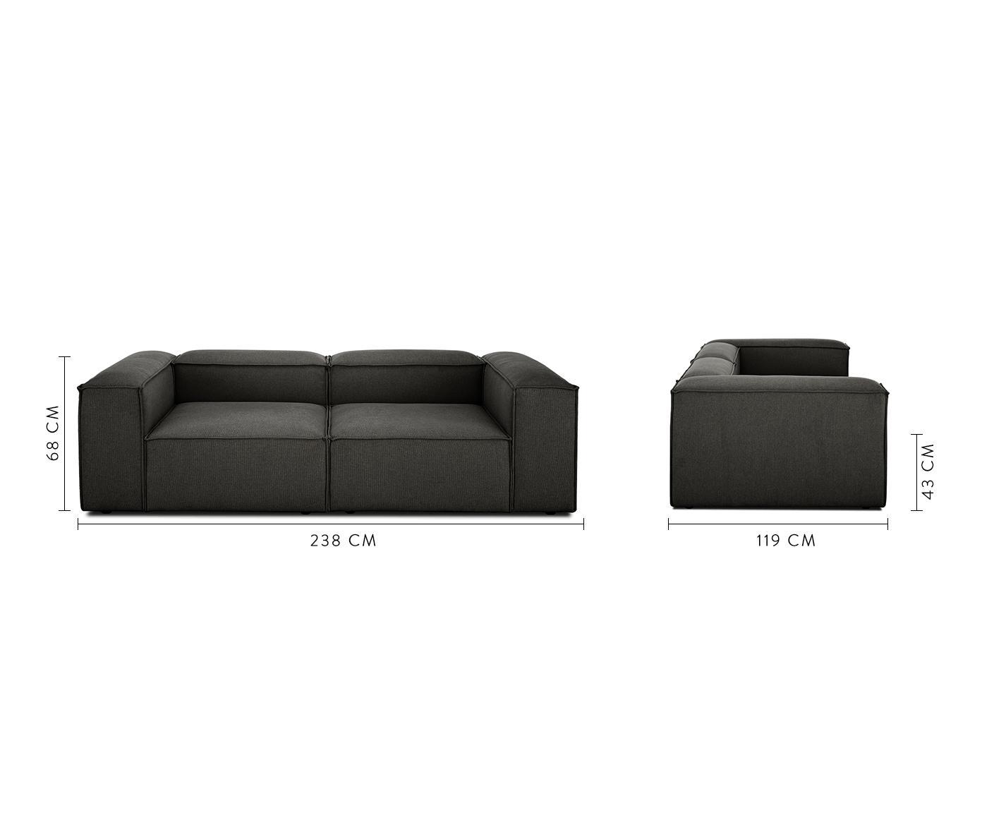 Sofa modułowa Lennon (3-osobowa), Tapicerka: poliester 35 000 cykli w , Stelaż: lite drewno sosnowe, skle, Nogi: tworzywo sztuczne, Antracytowy, S 238 x G 119 cm
