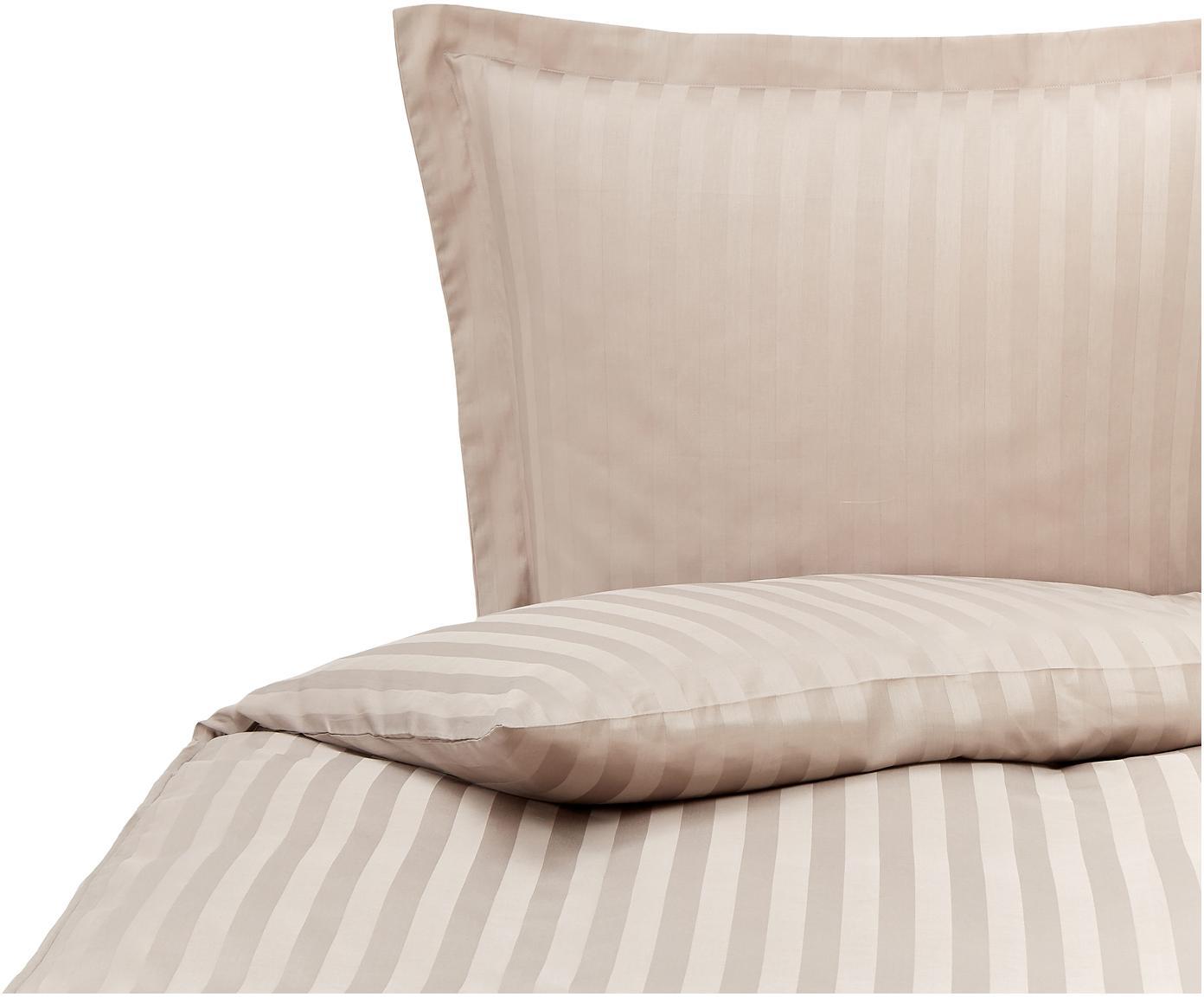 Satinstreifen-Bettwäsche Linea in Beige, Webart: Satin Baumwollsatin wird , Beige, 135 x 200 cm + 1 Kissen 80 x 80 cm