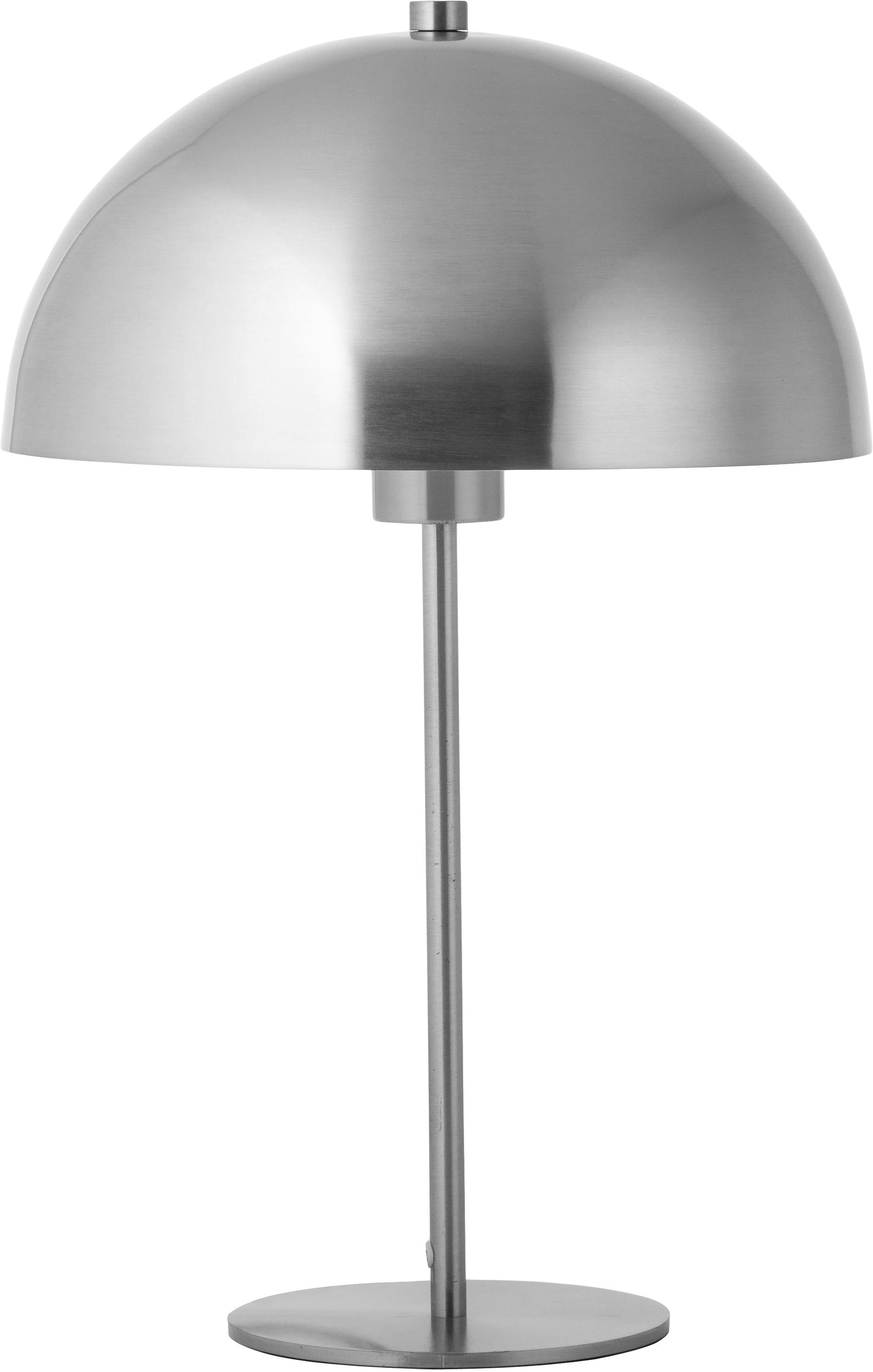 Tafellamp Matilda, Lampenkap: vernikkeld metaal, Lampvoet: vernikkeld metaal, Nikkelkleurig, Ø 29 x H 45 cm