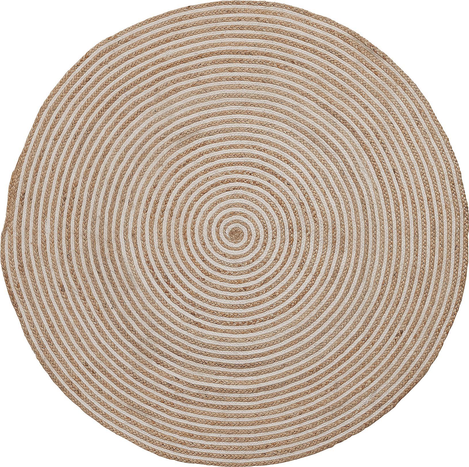Tappeto rotondo in juta Samy, Fibra naturale, Beige, bianco, Ø 100 cm (taglia XS)