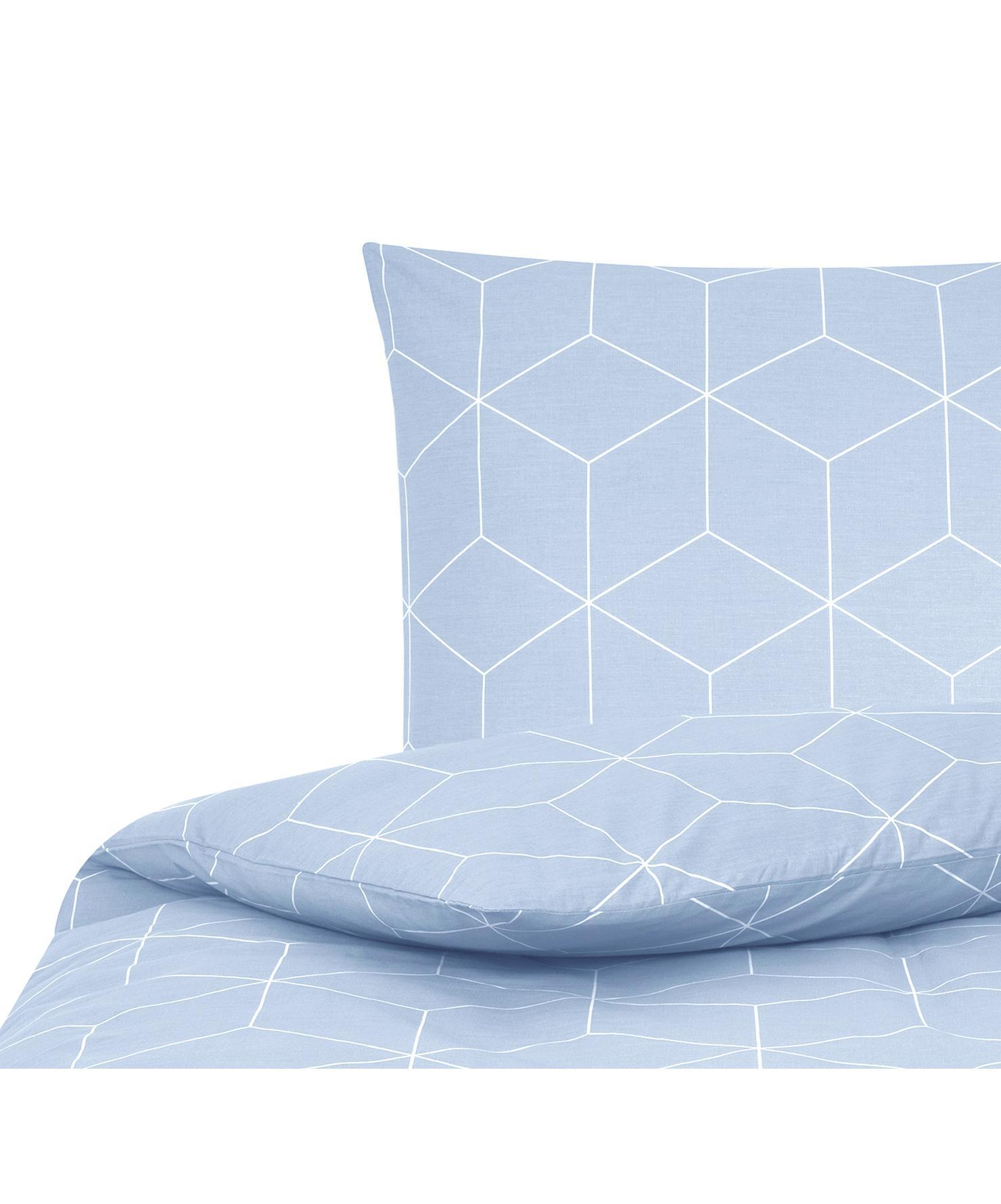 Baumwoll-Bettwäsche Lynn mit grafischem Muster, Webart: Renforcé Fadendichte 144 , Hellblau, Cremeweiß, 155 x 220 cm + 1 Kissen 80 x 80 cm