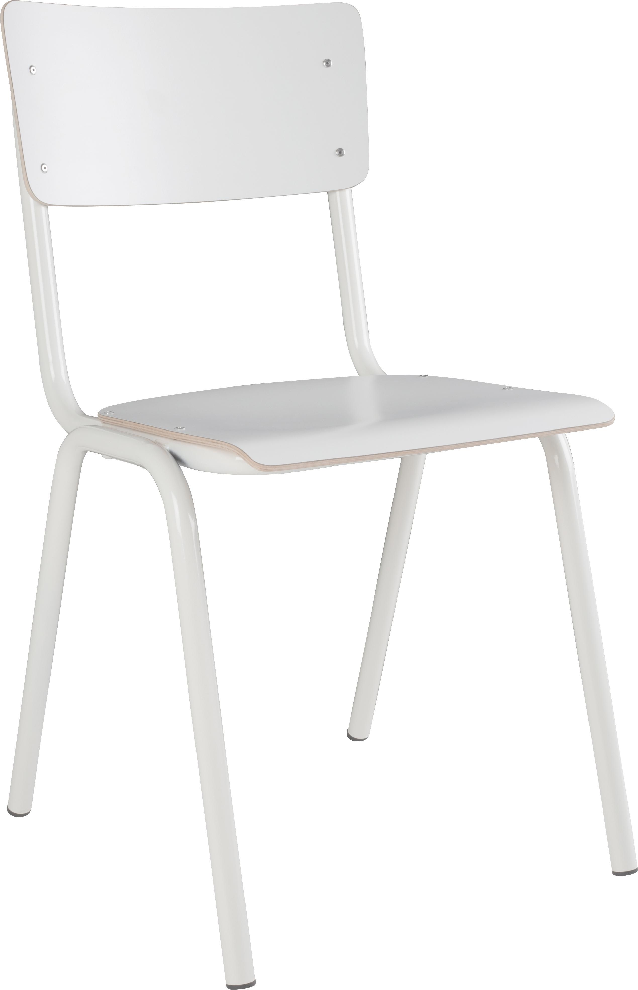 Sedia Back to School, 4 pz., Gambe: metallo verniciato a polv, Seduta: laminato, Bianco, Larg. 43 x Alt. 83 cm