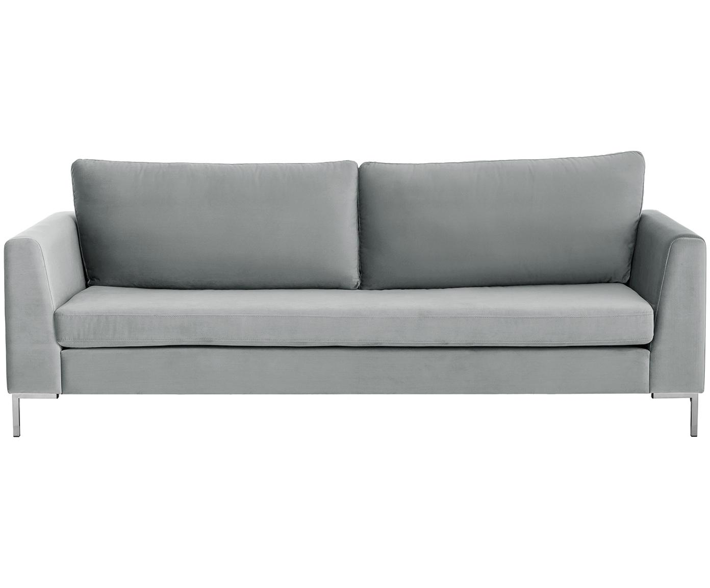 Sofa z aksamitu Luna (3-osobowa), Tapicerka: aksamit (poliester) 8000, Stelaż: lite drewno bukowe, Nogi: metal galwanizowany, Aksamitny jasny szary, srebrny, S 230 x G 95 cm