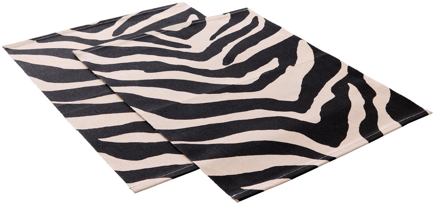 Manteles individuales Jill, 2uds., Algodón, Negro, crema, An 35 x L 45 cm
