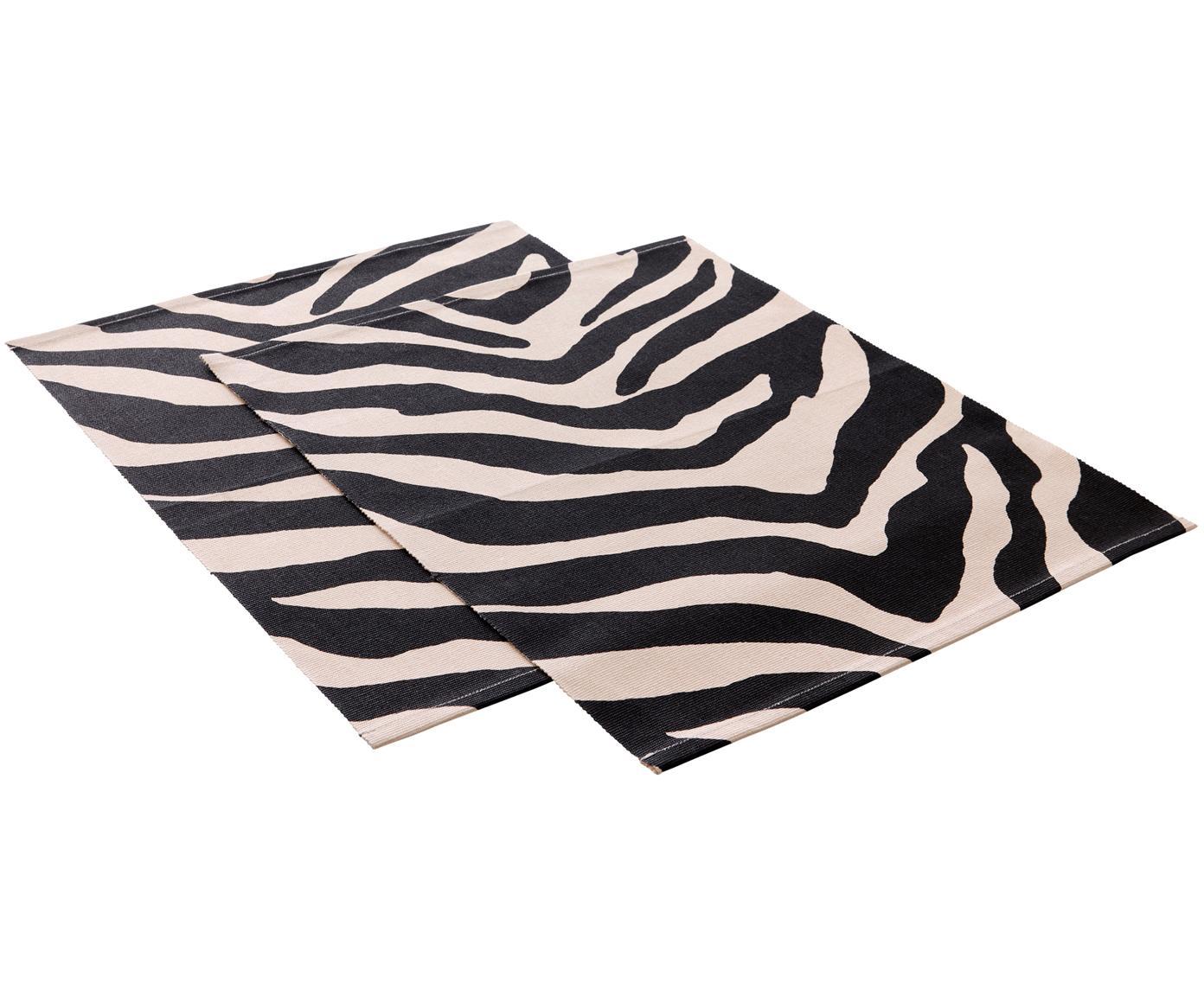 Placemats Jill met zebra-print, 2 stuks, Katoen, Zwart, crèmekleurig, 35 x 45 cm