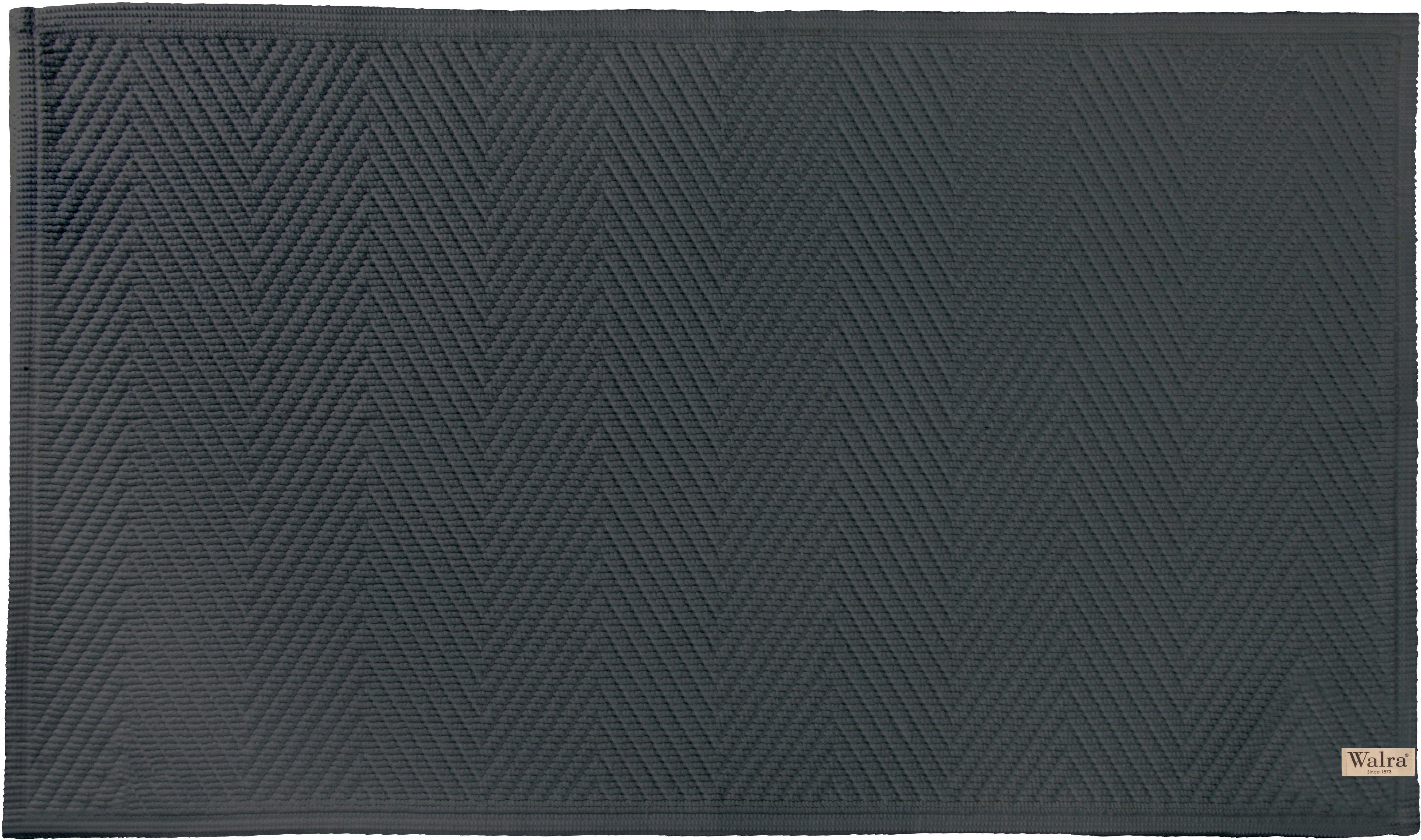 Zachte katoenen badmat met visgraatmotief., Katoen, Antraciet, 60 x 100 cm