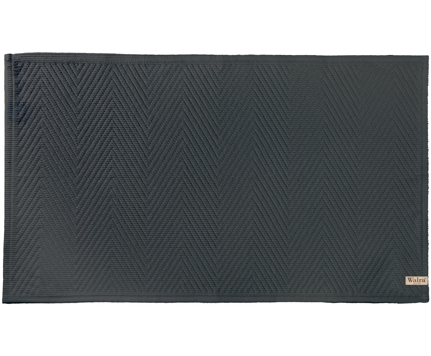 Tappeto bagno con motivo spina di pesce Soft Cotton, Cotone, Antracite, Larg. 60 x Lung. 100 cm