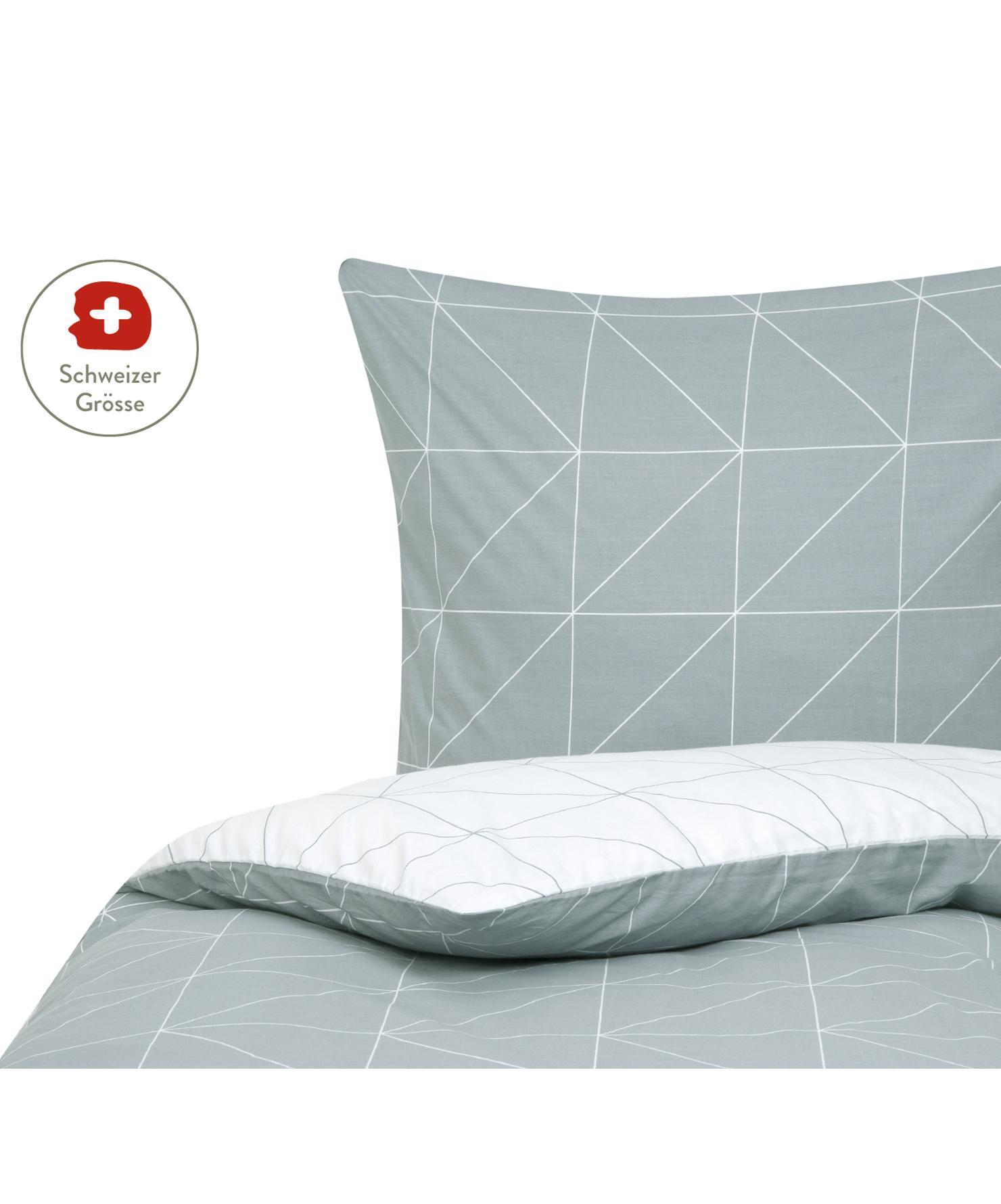 Baumwoll-Wendebettdeckenbezug Marla mit grafischem Muster, Webart: Renforcé Fadendichte 144 , Grau, Weiss, 160 x 210 cm