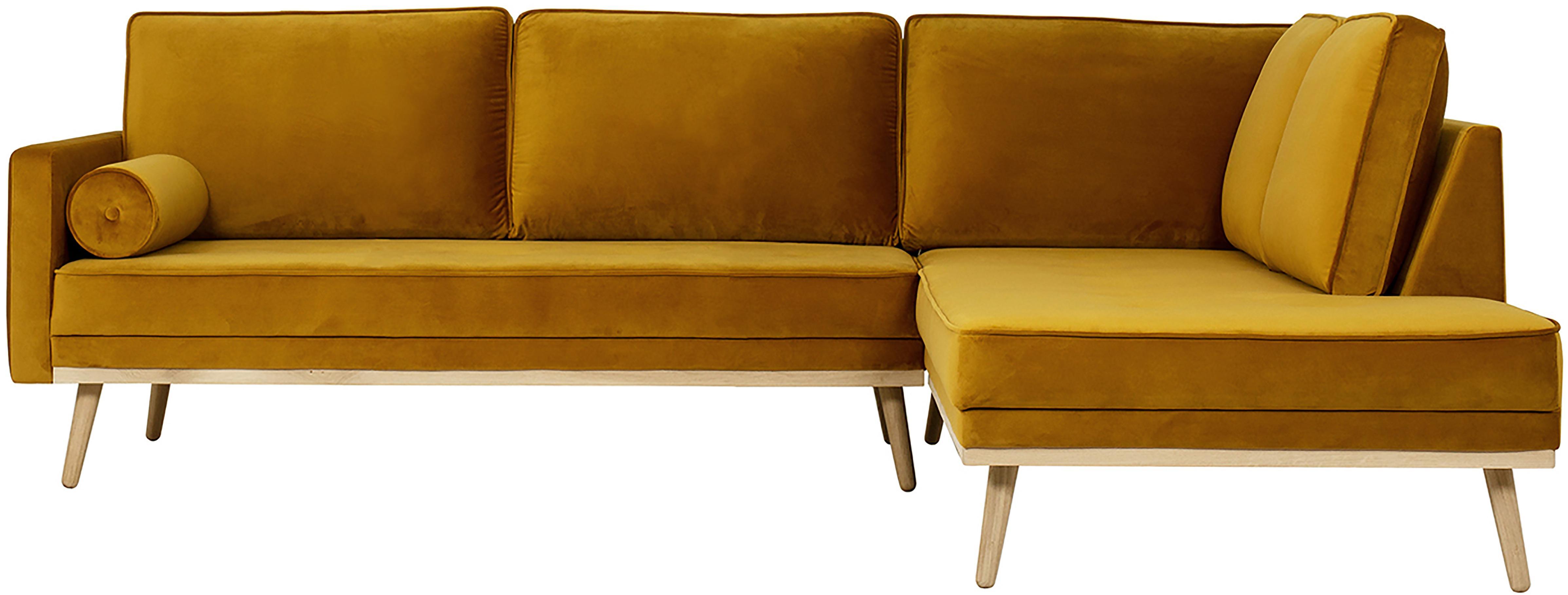 Samt-Ecksofa Saint (3-Sitzer), Bezug: Samt (Polyester) Der hoch, Gestell: Massives Eichenholz, Span, Samt Senfgelb, B 243 x T 220 cm