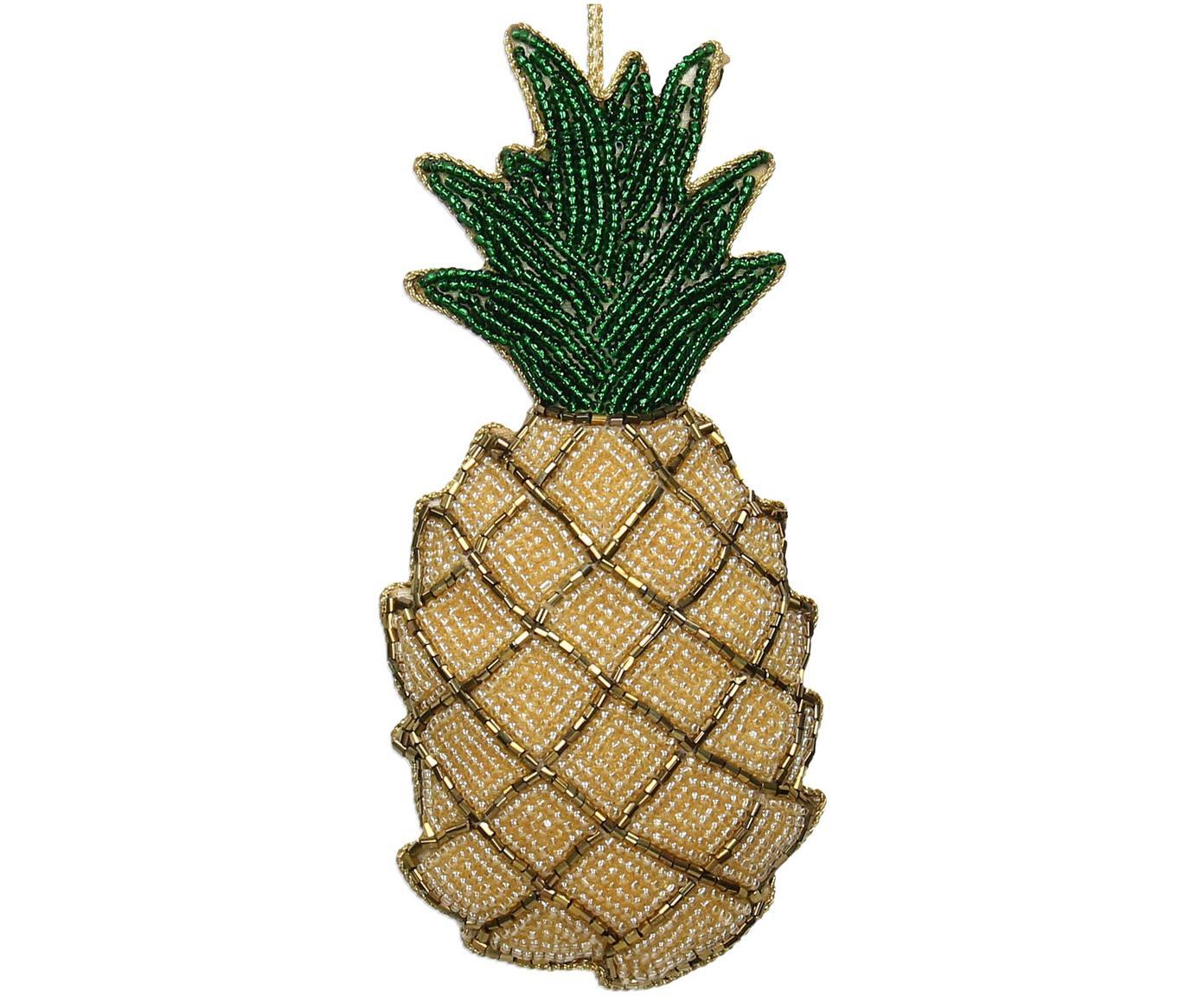 Baumanhänger Pineapple, Gelb, Grün, Goldfarben, 7 x 16 cm