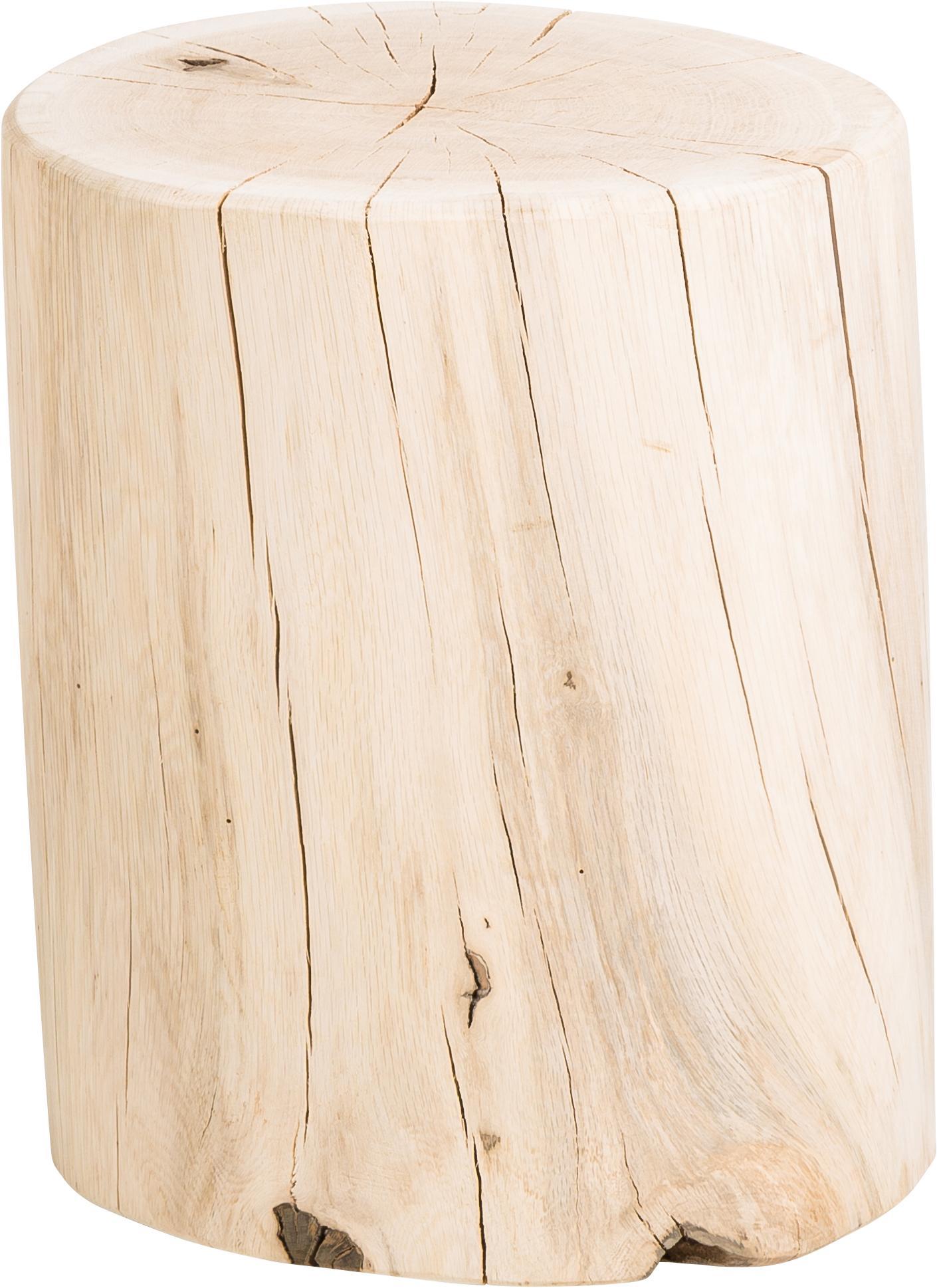 Stołek z litego drewna dębowego Block, Masywne drewno dębowe, Drewno dębowe, Ø 29 x W 38 cm