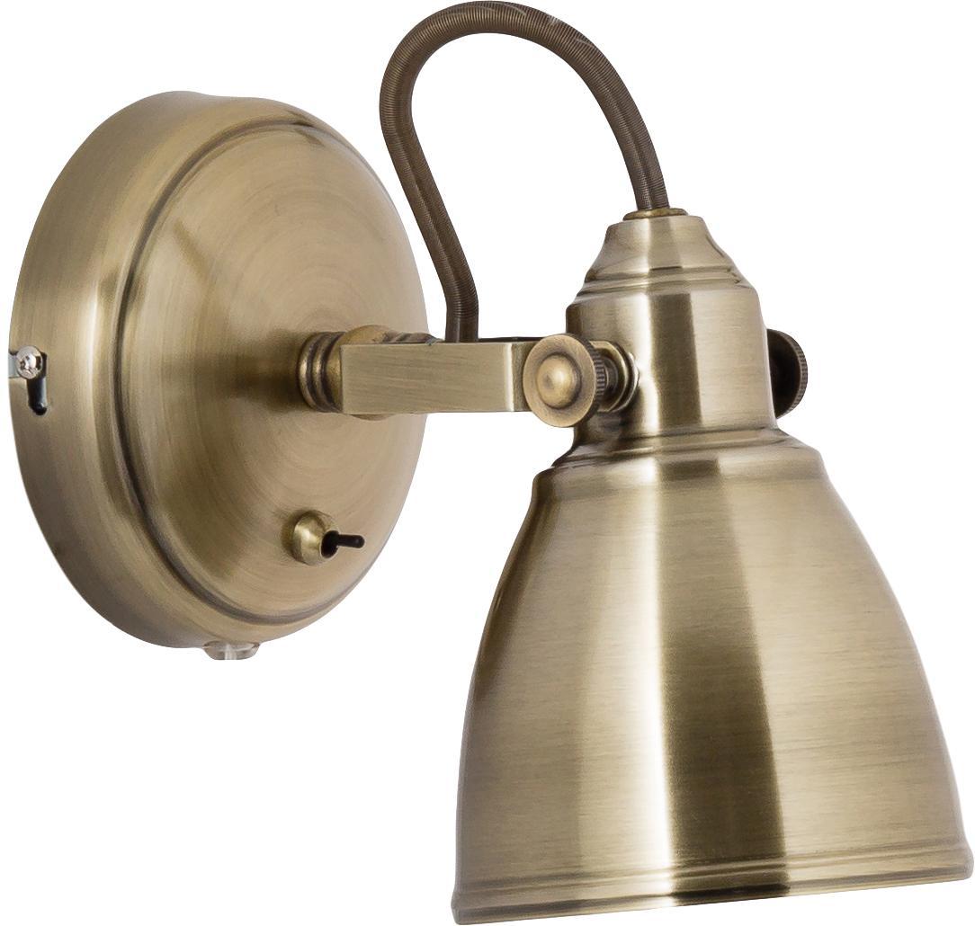 Aplique Fjallbacka, con enchufe, Lámpara: metal recubierto, Cable: plástico, Dorado, An 12 x Al 17 cm