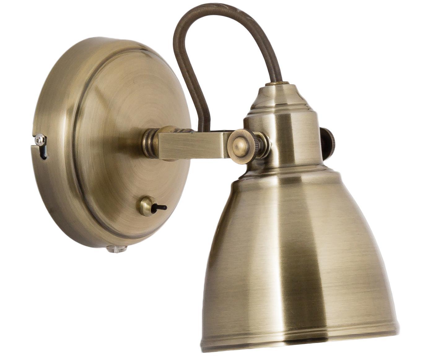 Wandlamp Fjallbacka met stekker, Lamp: gecoat metaal, Goudkleurig met antieke afwerking, 12 x 17 cm