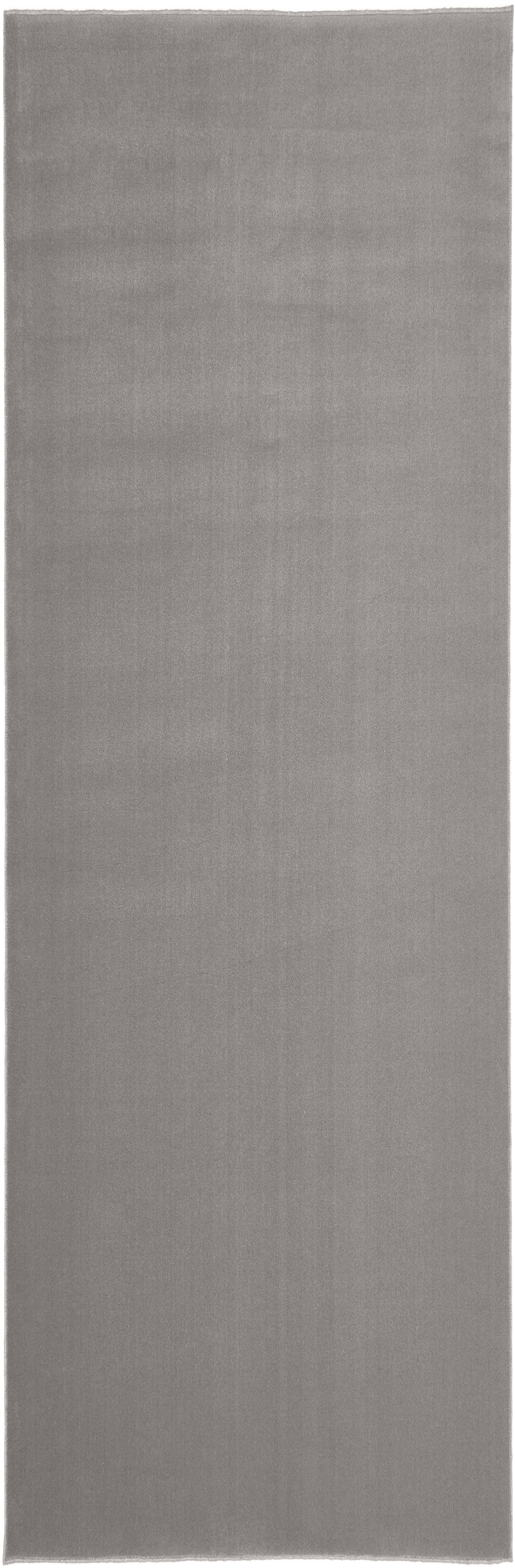 Wollen loper Ida in grijs, Bovenzijde: wol, Onderzijde: polyester, Grijs, 80 x 250 cm