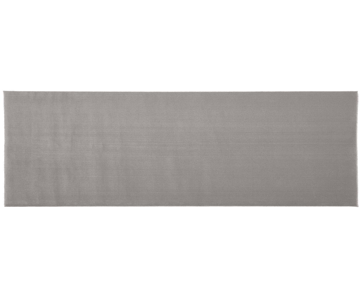 Passatoia in lana grigio Ida, Vello: lana, Retro: poliestere, Grigio, Larg. 80 x Lung. 250 cm