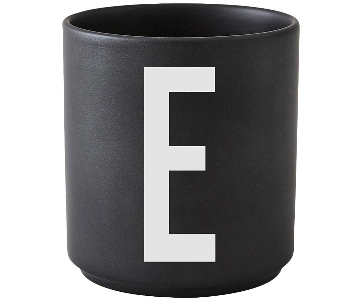 Beker Personal (varianten van A tot Z), Fine Bone China, Mat zwart, wit, Beker E