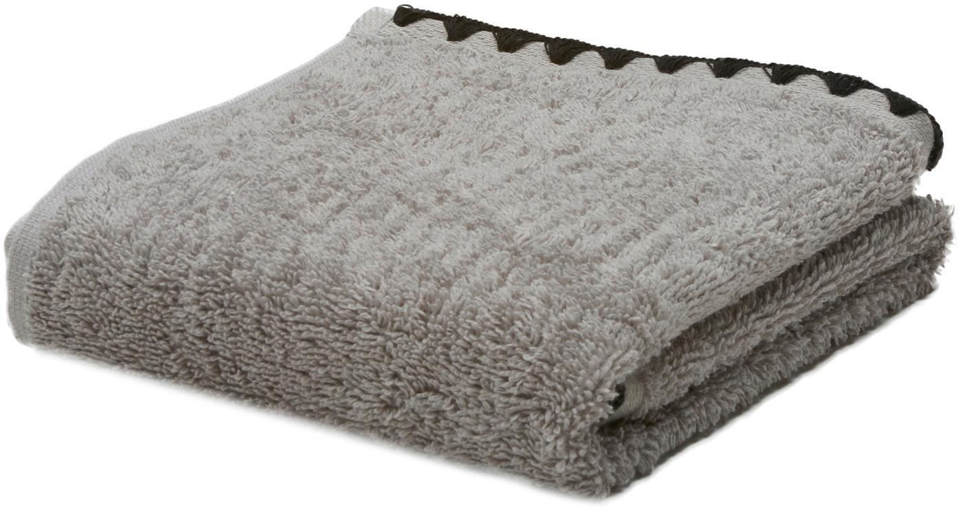 Handtuch Issey in verschiedenen Größen, mit bestickter Borte, Grau, Schwarz, Gästehandtuch