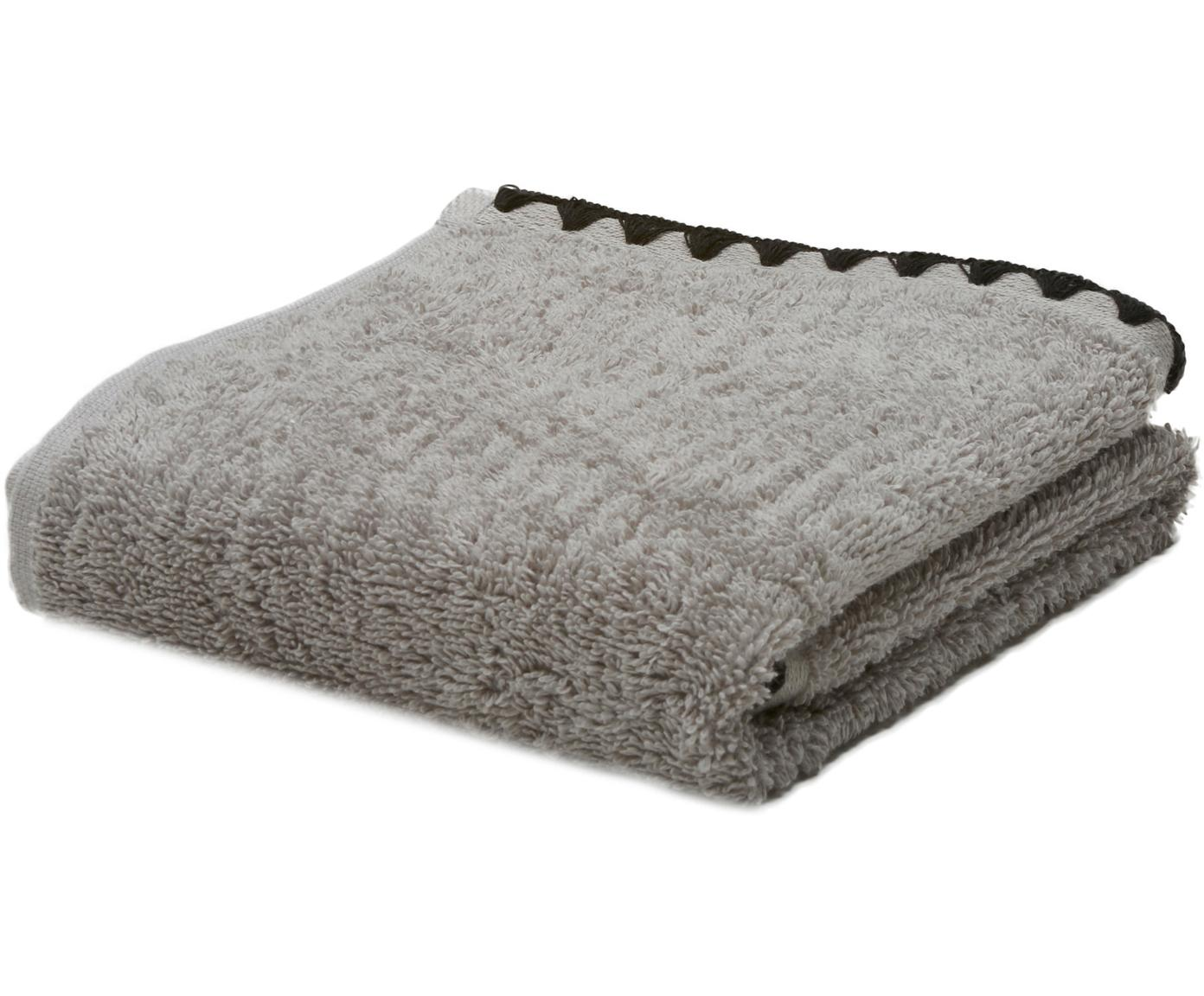 Handtuch Issey mit bestickter Borte, Grau, Schwarz, Gästehandtuch