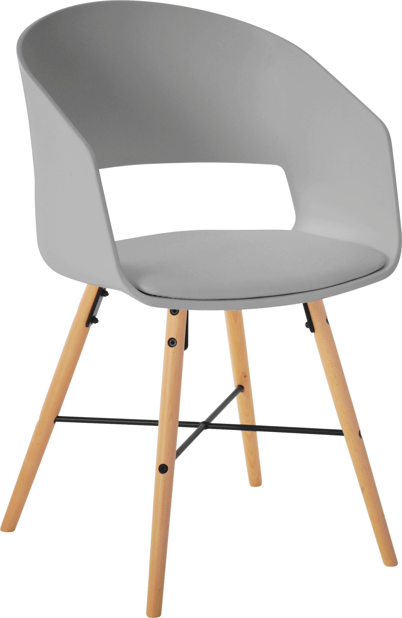 Sedia con braccioli  Luna 2 pz, Gambe: legno di faggio verniciat, Grigio, Larg. 52 x Prof. 52 cm
