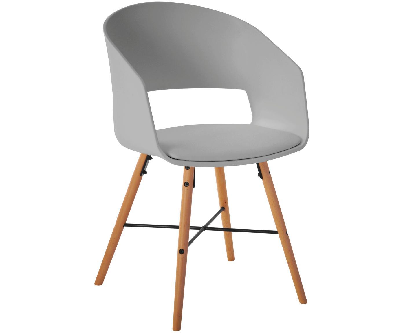 Krzesło z podłokietnikami z tapicerowanym siedziskiem Luna, 2 szt., Nogi: drewno bukowe, lakierowan, Szary, S 52 x W 81 cm