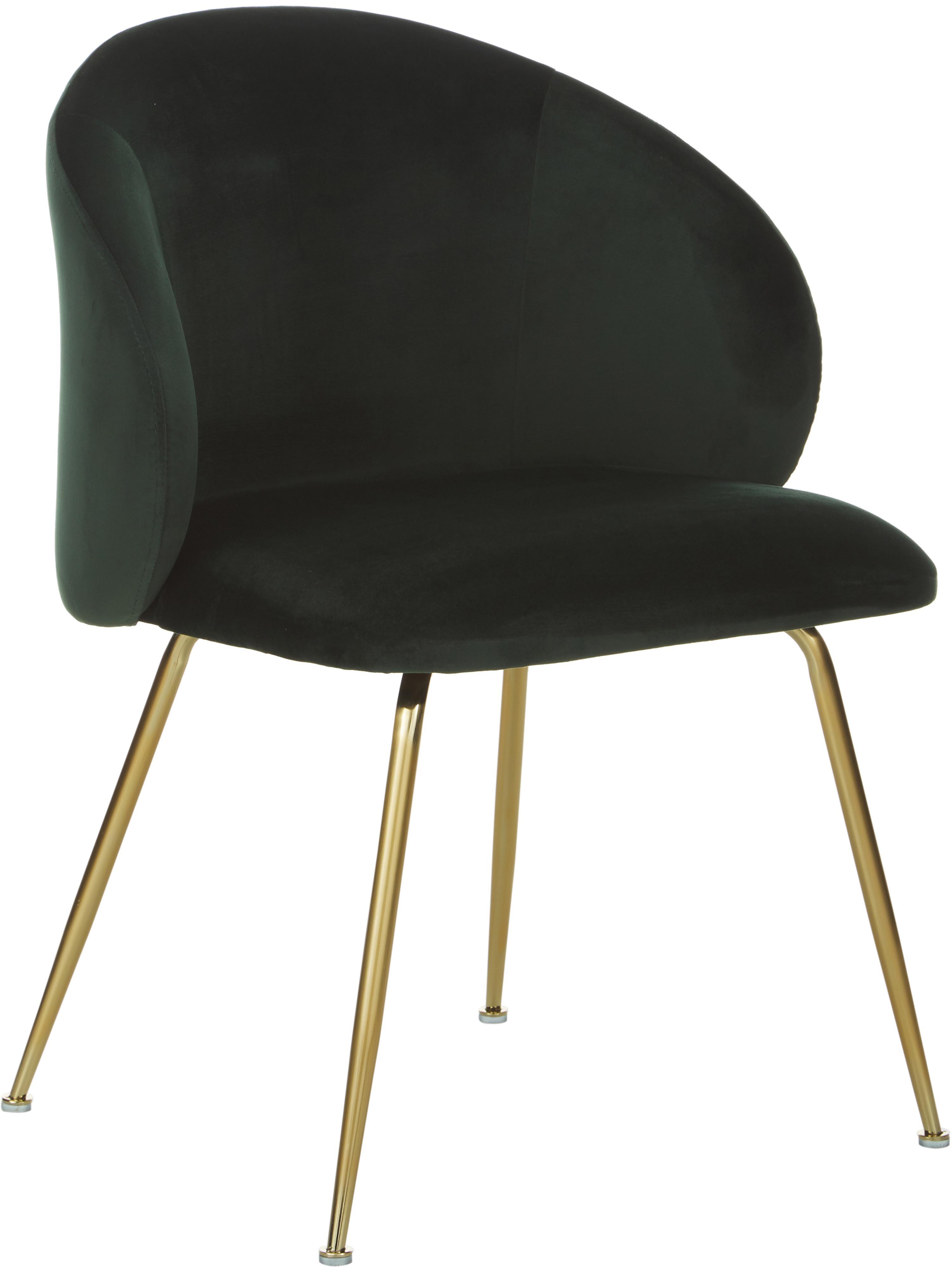 Fluwelen stoelen Luisa, 2 stuks, Bekleding: fluweel (100% polyester), Poten: gelakt metaal, Fluweel donkergroen, goudkleurig, B 61 x D 58 cm