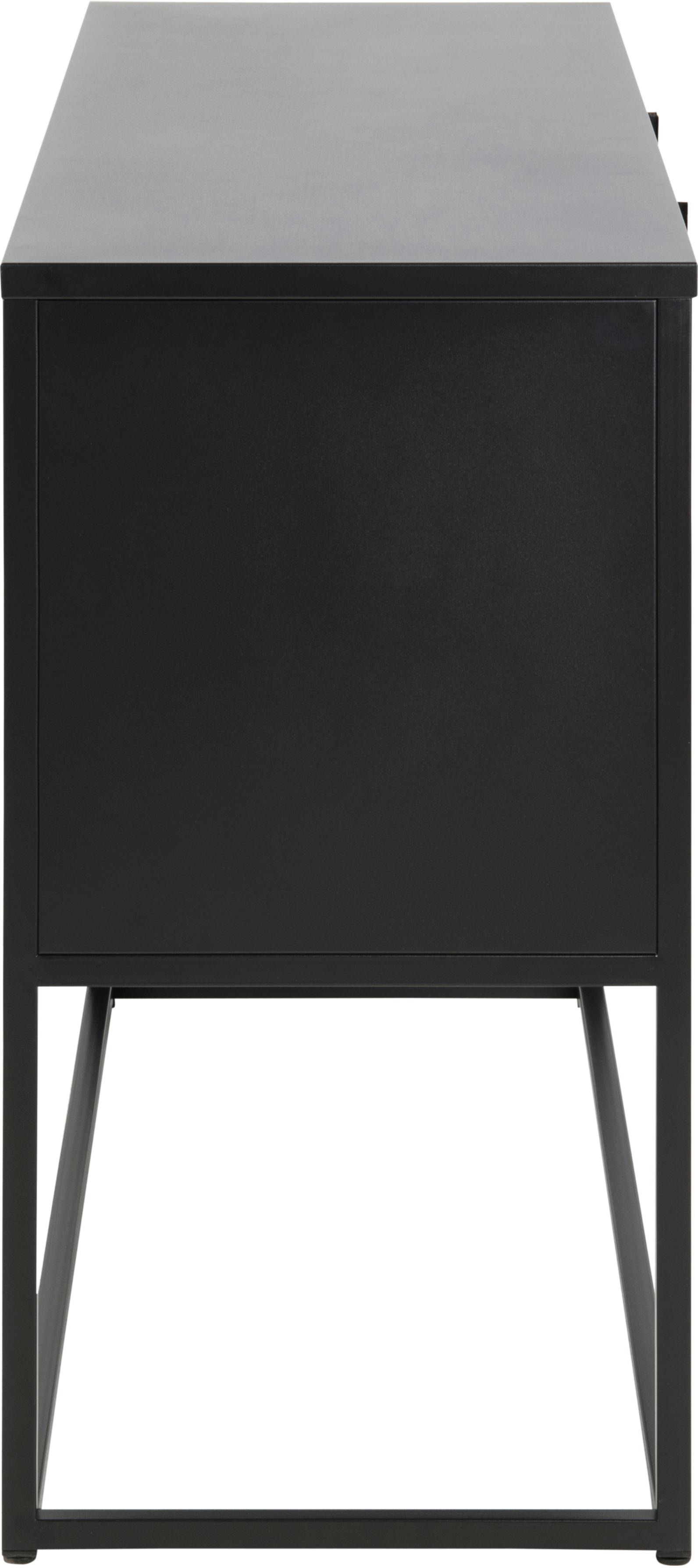 Credenza in metallo nero Newton, Metallo verniciato a polvere, Nero, Larg. 120 x Alt. 80 cm