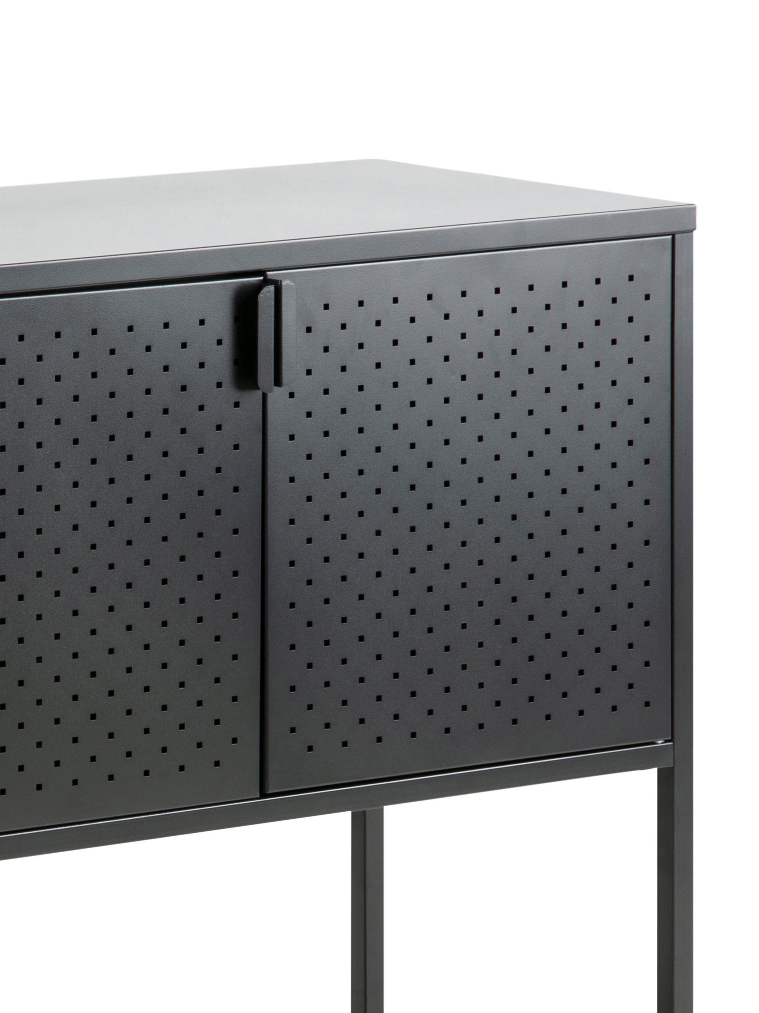 Metall-Sideboard Newton in Schwarz, Metall, pulverbeschichtet, Schwarz, 120 x 80 cm