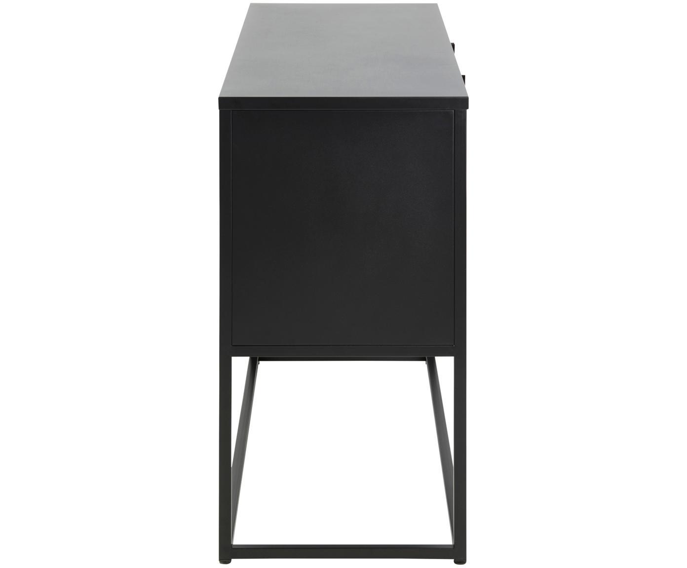 Komoda z metalu Newton, Metal malowany proszkowo, Czarny, S 120 x W 80 cm