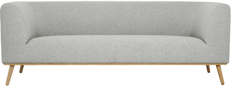 Bank Archie (3-zits), Bekleding: 100% wol, Frame: grenenhout, Poten: geolied massief eikenhout, Bekleding: lichtgrijs. Poten: eikenkleurig, 222 x 80 cm