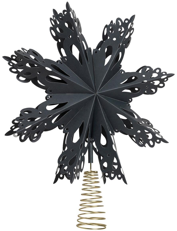 Baumspitze Christmas Star, Papier, Metall, Dunkelblau, Goldfarben, Ø 30 cm