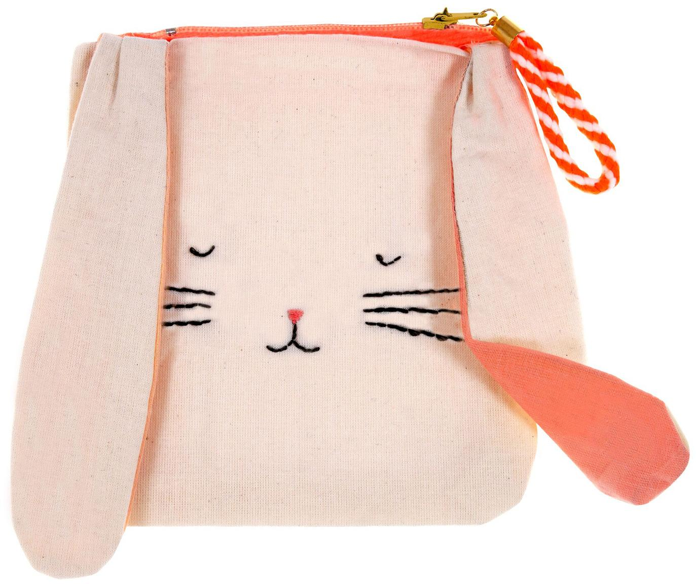 Kinder portemonnee Bunny, Linnen, Beige, oranje, zwart, 13 x 15 cm