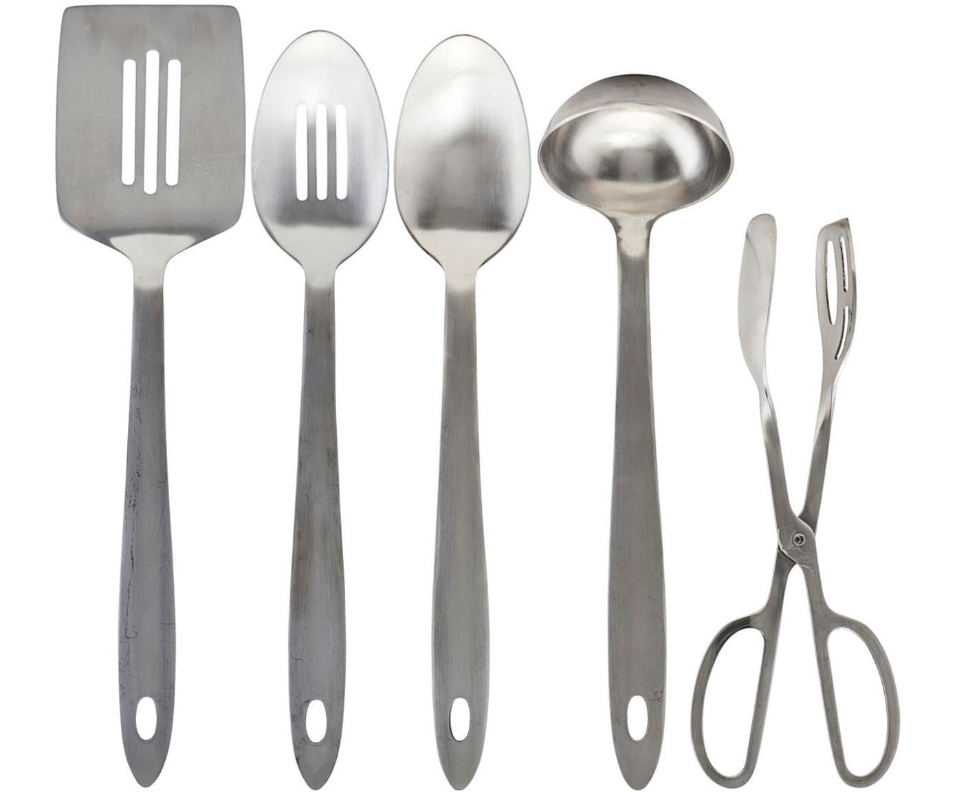 Komplet sztućców kuchennych Take, 5-szt., Stal nierdzewna, Odcienie srebrnego, Różne rozmiary