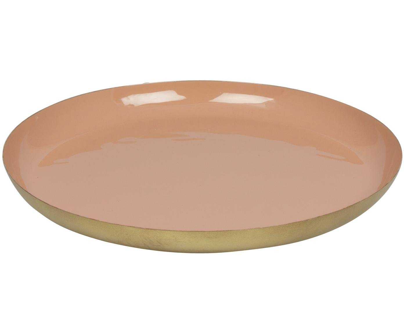 Deko-Tablett Julienne, Metall, beschichtet, Innen: Pink Außen: Goldfarben, Ø 29 x H 3 cm