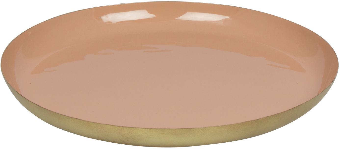 Vassoio decorativo Julienne, Metallo rivestito, Interno: rosa esterno: dorato, Ø 29 x A 3 cm