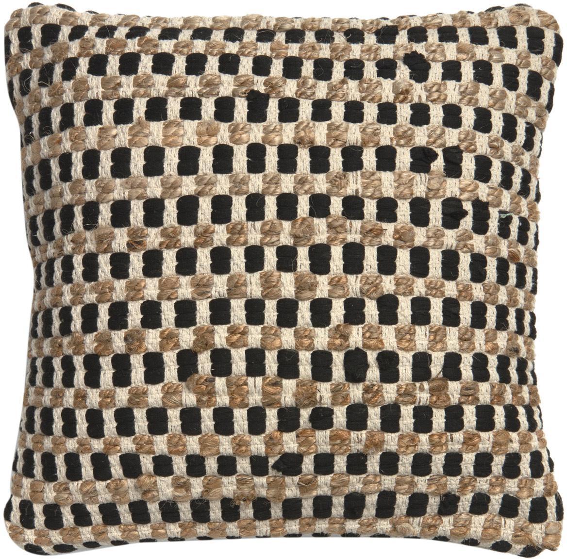 Kissenhülle Fiesta aus Baumwolle/Jute, Vorderseite: 55% Chindi Baumwolle, 45%, Rückseite: 100% Baumwolle, Schwarz, Beige, 45 x 45 cm