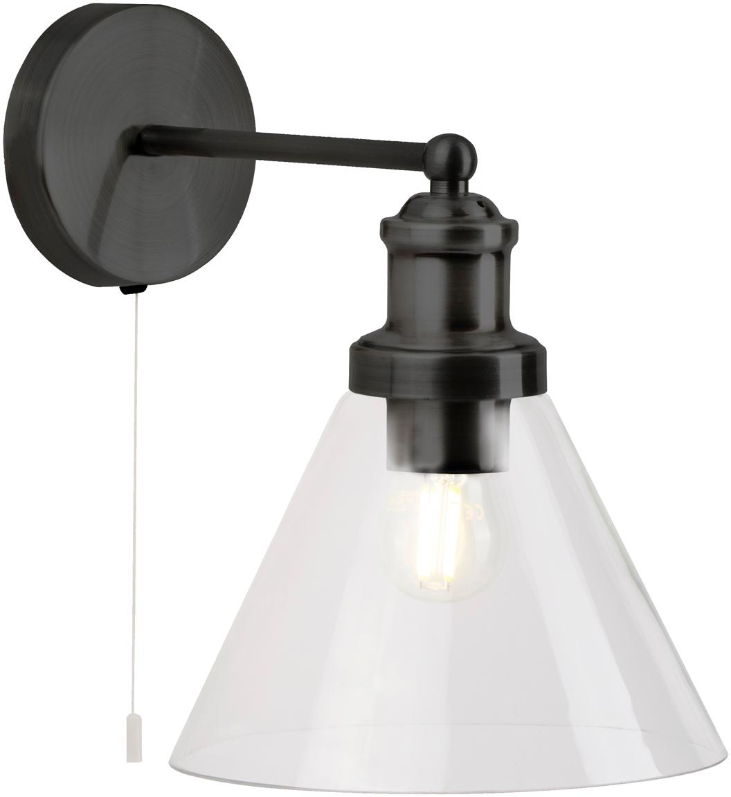 Wandleuchte Pyramid mit Glasschirm, Lampenschirm: Glas, Schwarz, Transparent, 19 x 25 cm
