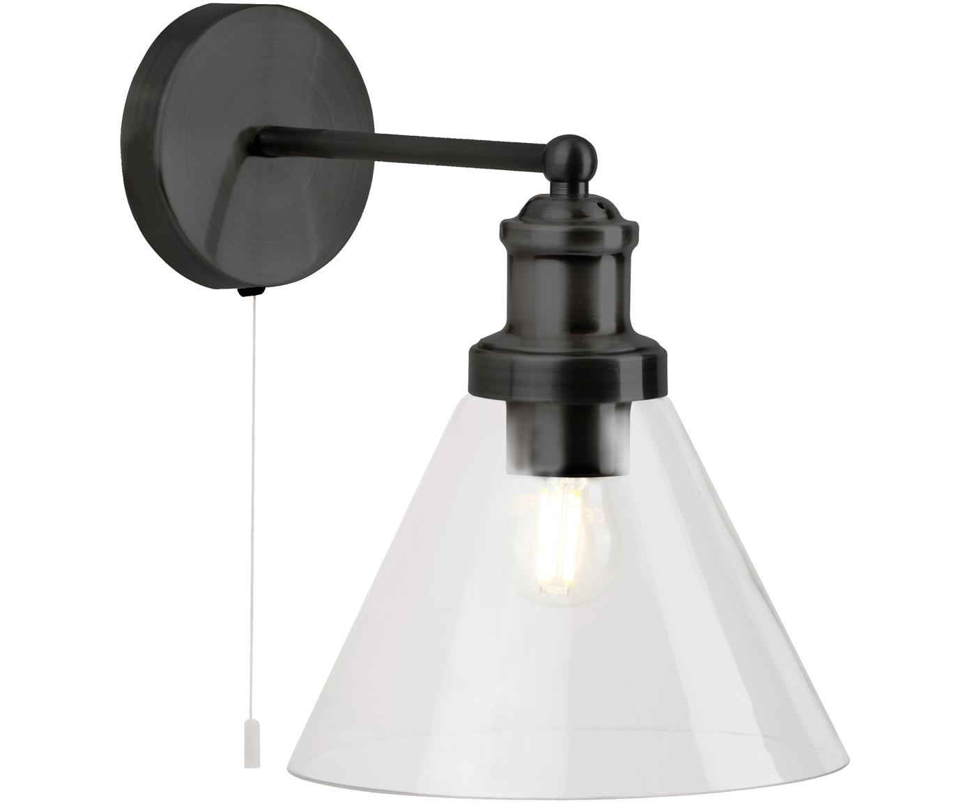 Wandlamp Pyramid, Lampenkap: glas, Zwart, transparant, 19 x 25 cm