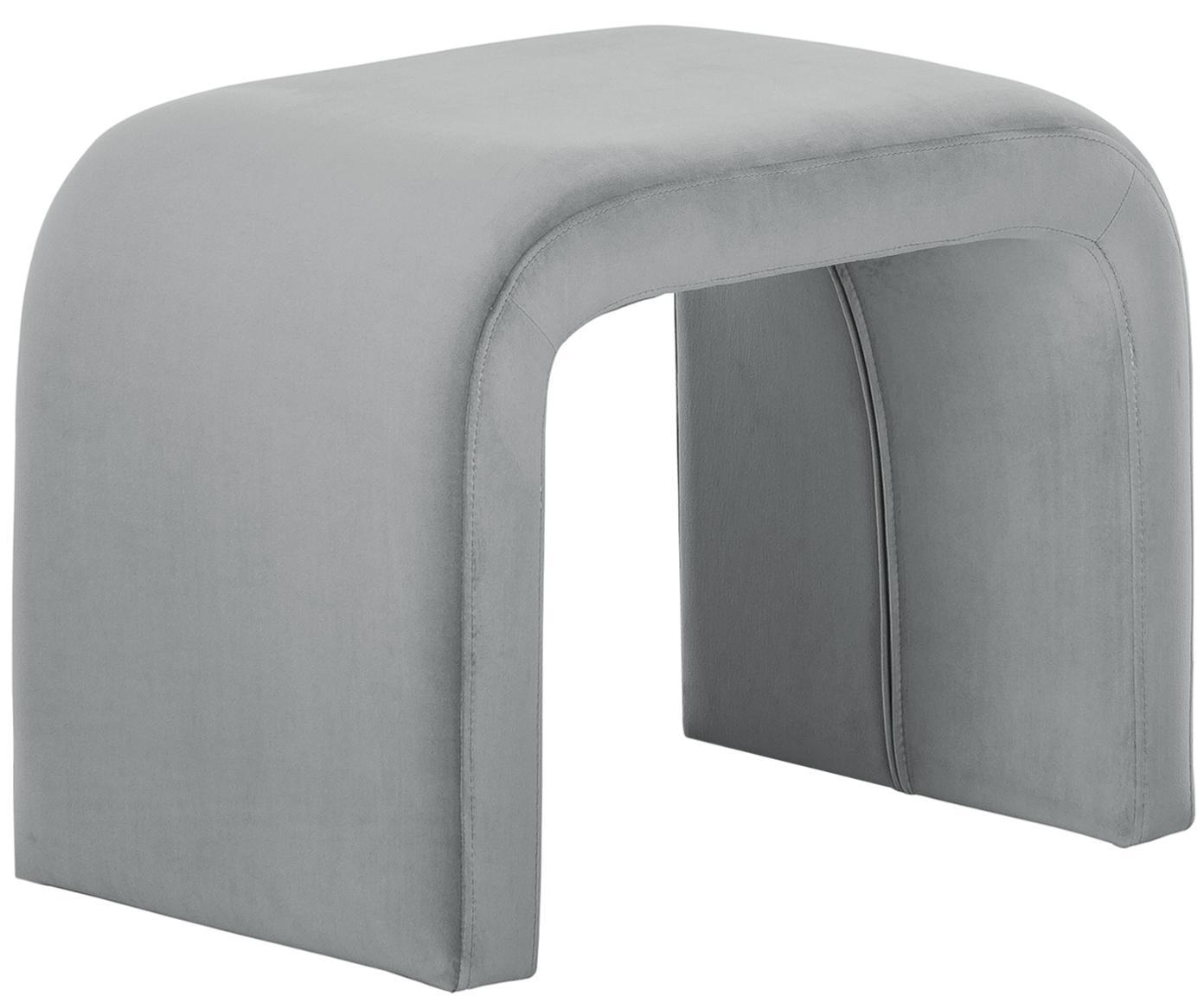 Samt-Hocker Penelope, Bezug: Samt (Polyester) 25.000 S, Gestell: Metall, Spanholz, Grau, 61 x 46 cm