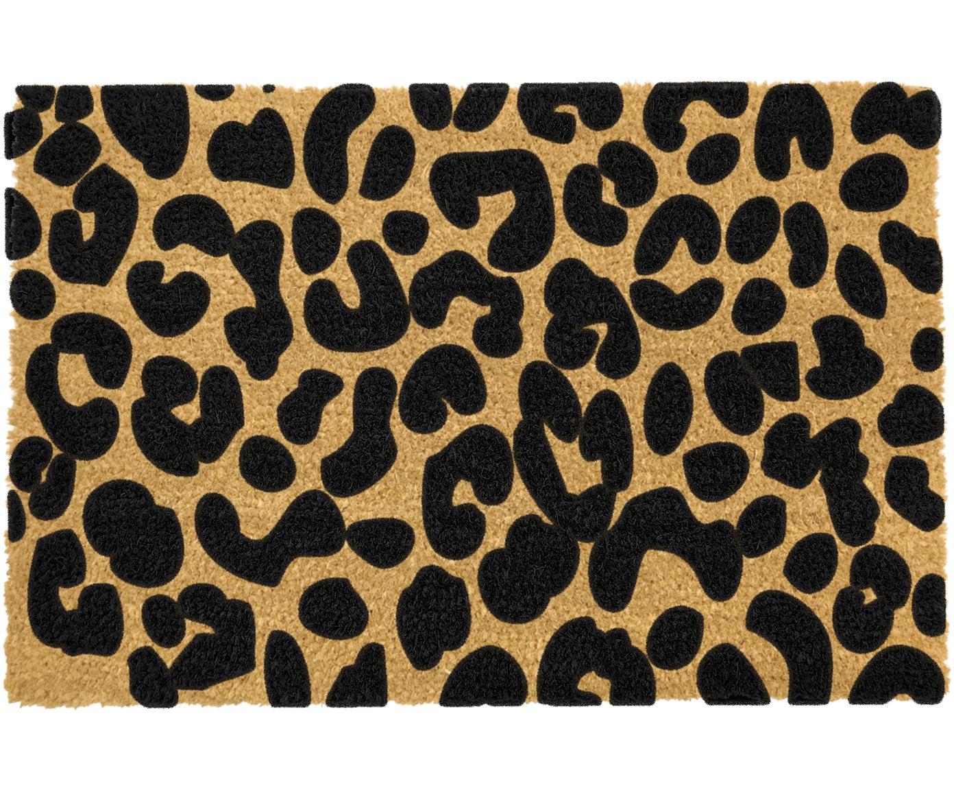 Deurmat Leopard, Bovenzijde: kokosvezels, Onderzijde: PVC, Beige, zwart, 40 x 60 cm