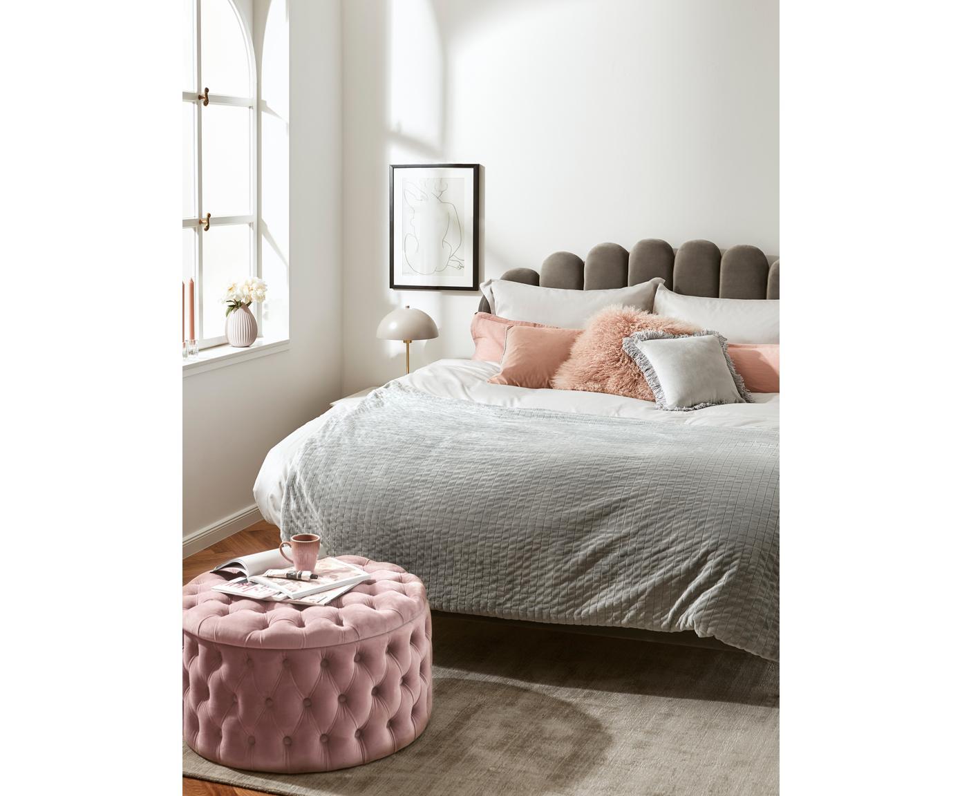 Sametový taburet súložným prostorem XL Chiara, Růžová